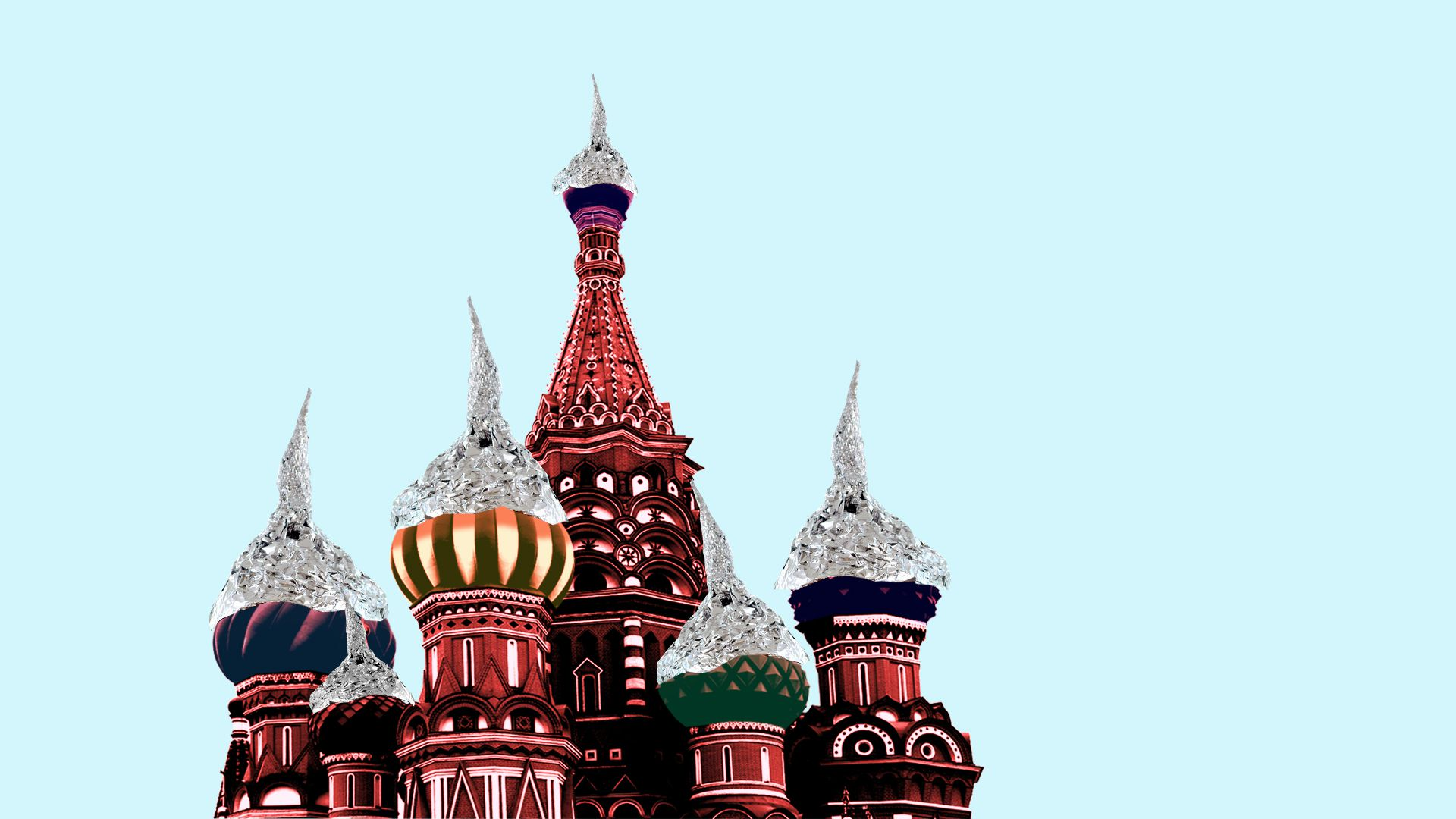 Illustration of Kremlin onion-domes with tin foil hats