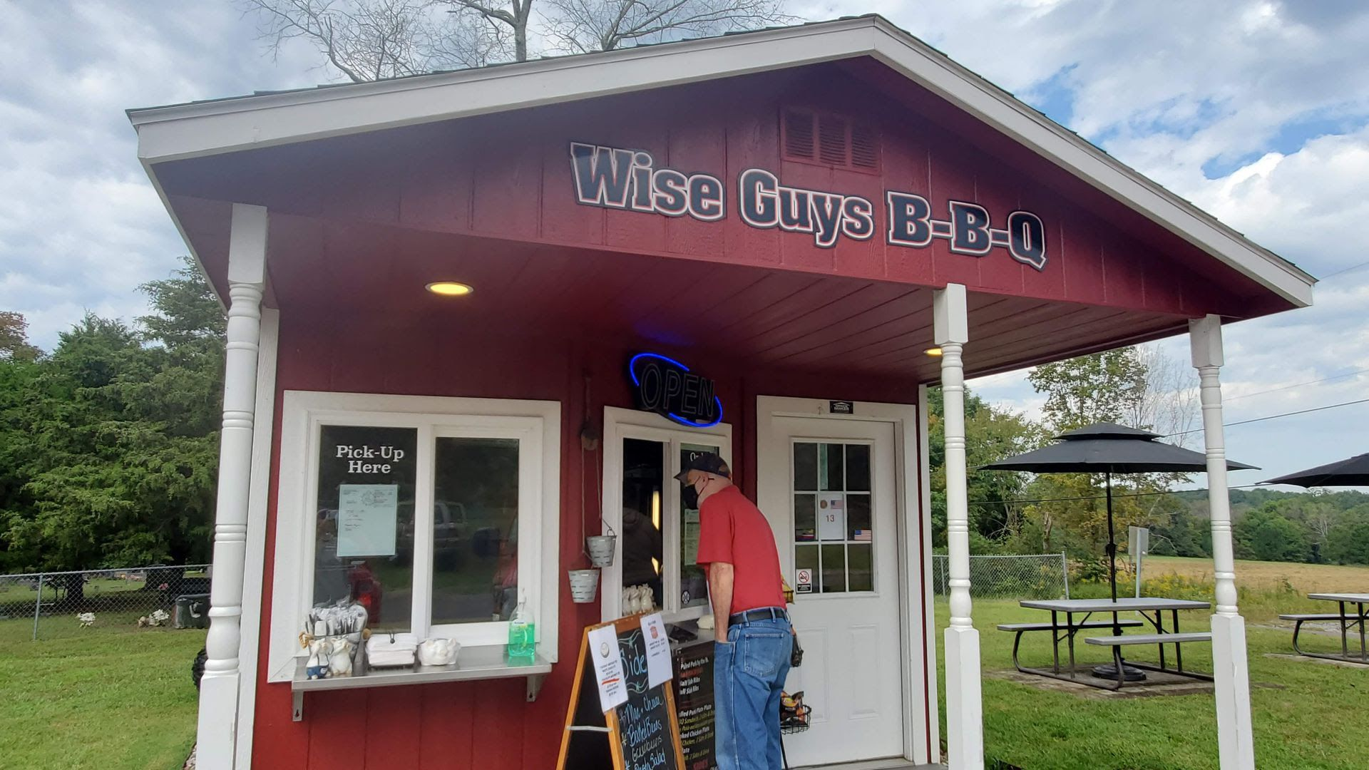 A man orders outside of Wise Guy's barbecue in Joelton.