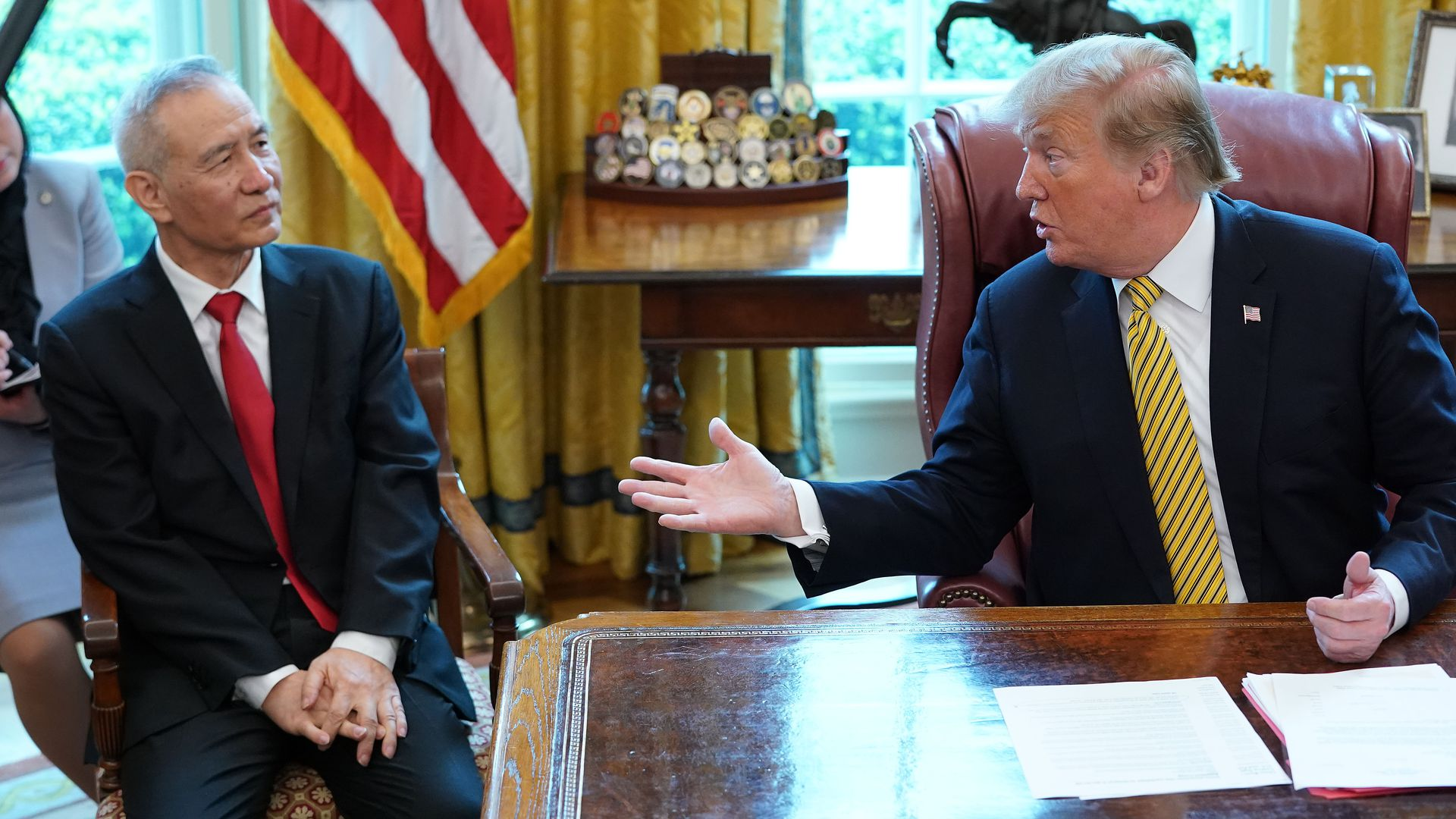 Trump and Chinese Vice Premier Liu He talk to reporters in the Oval Office last month.