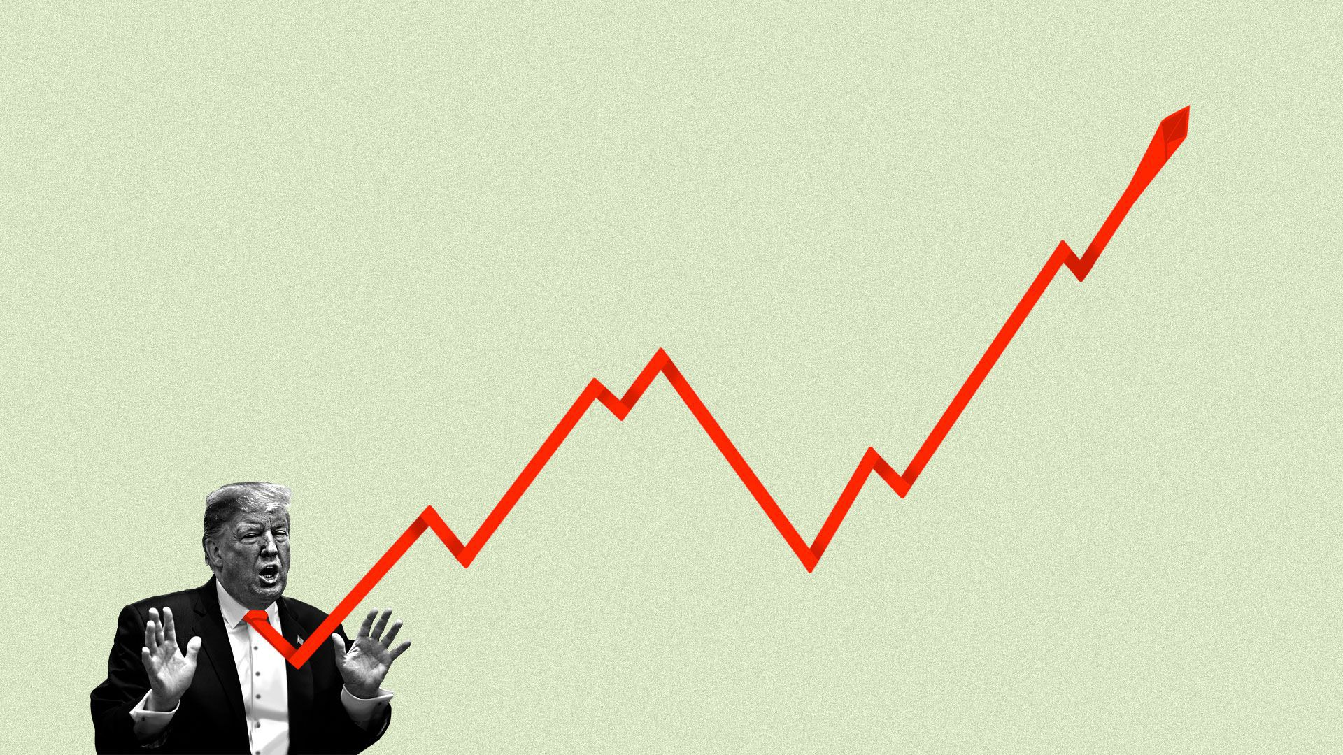 An unwieldy stock chart emerging from Donald Trump's tie
