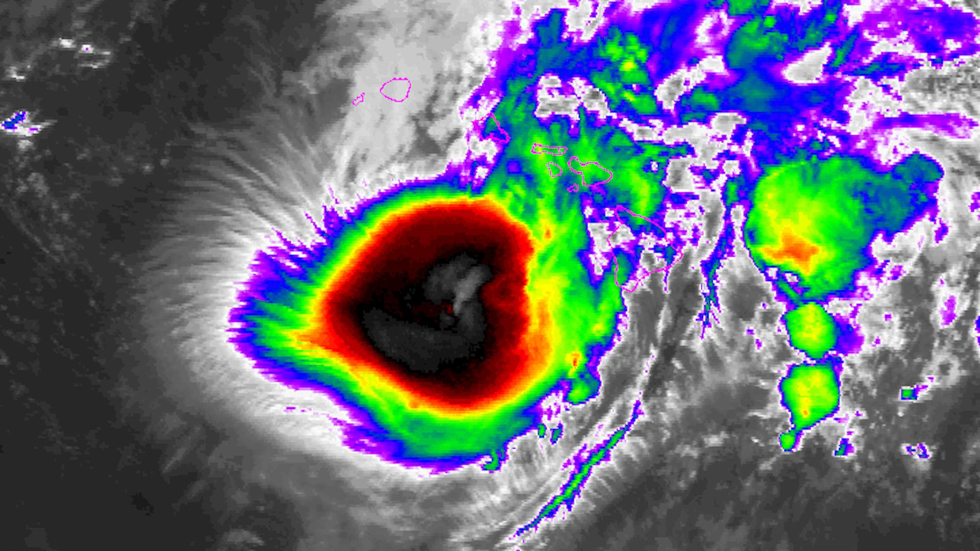 Infrared image of Hurricane Lane approaching Hawaii on Aug. 24, 2018.