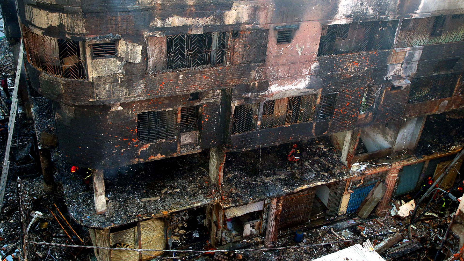 Charred building in bangladesh's captital