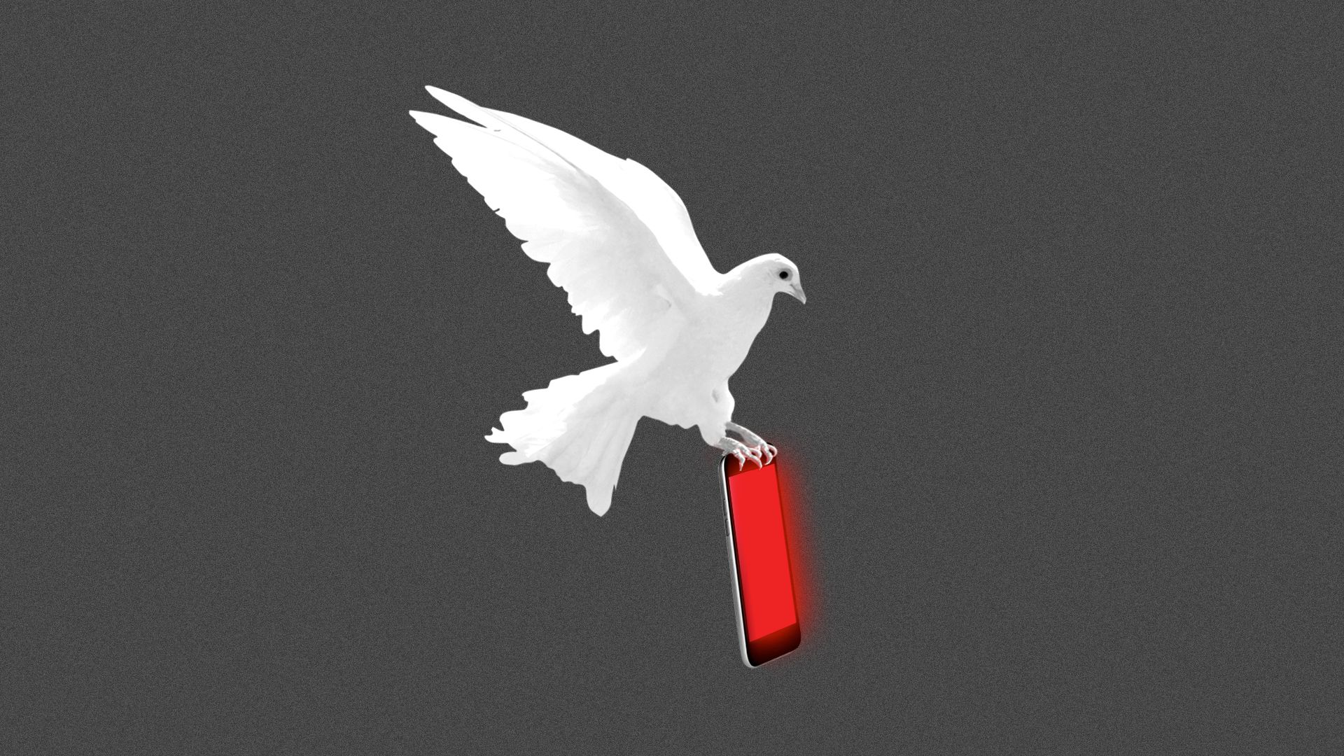 Illustration of a dove carrying a mobile phone glowing menacingly.