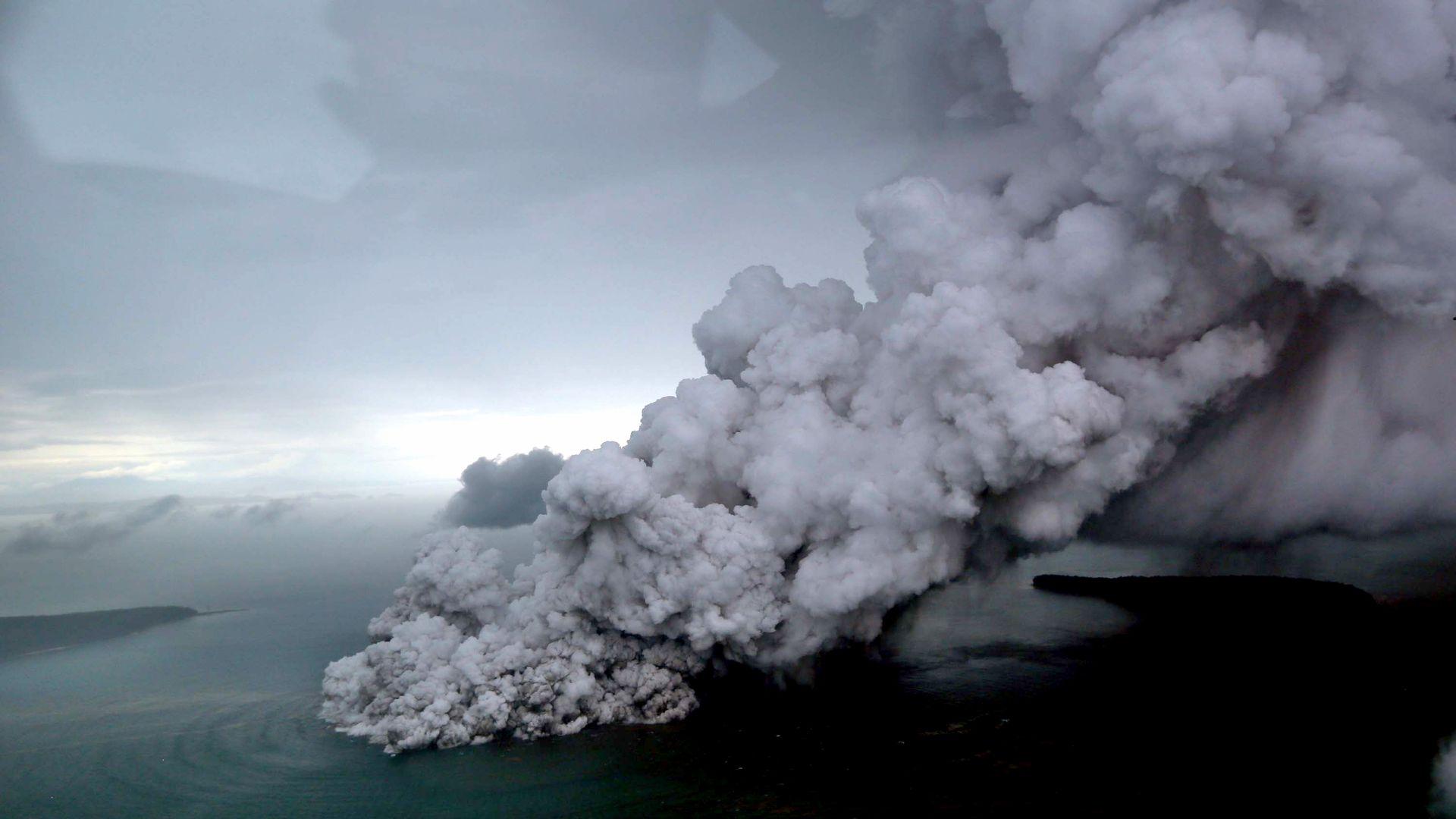 Smoke billowing from volcano eruption
