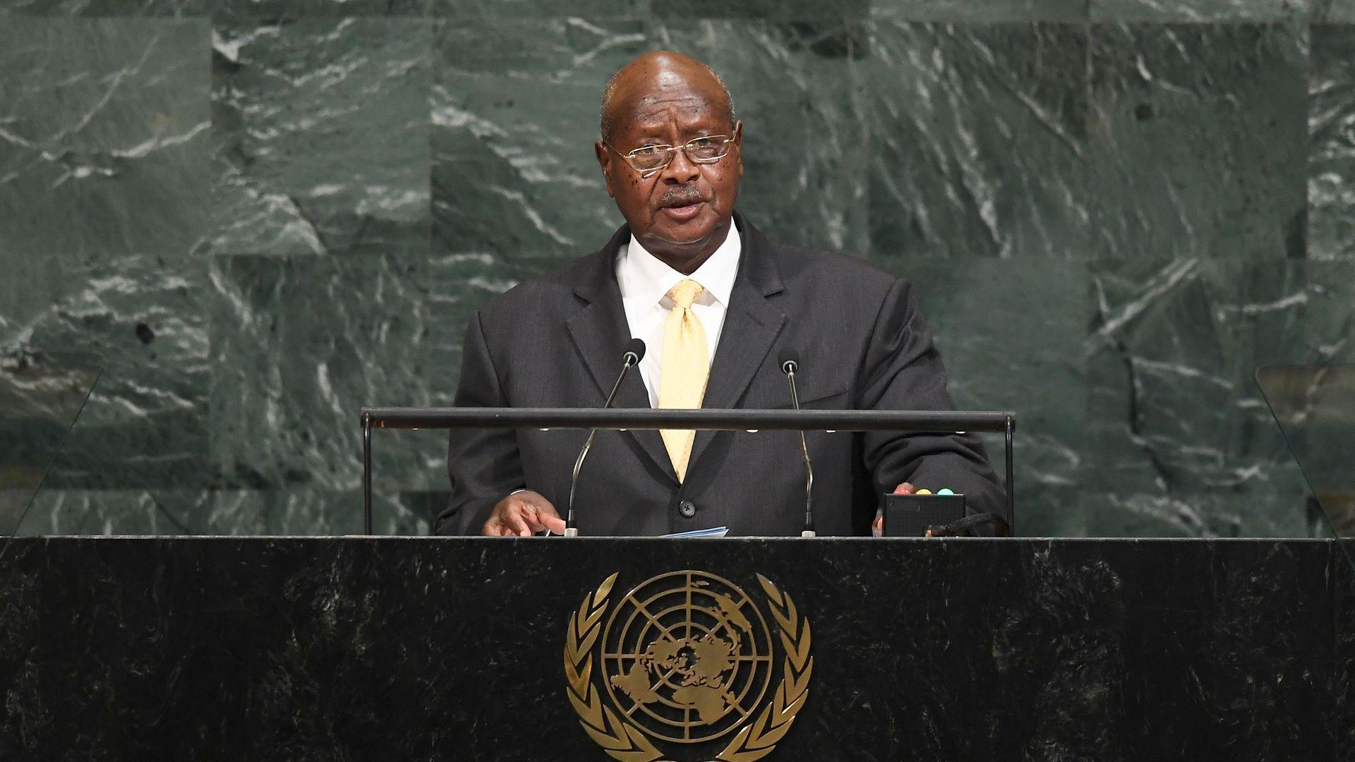 Ugandan President Museveni at lectern at UN Assembly