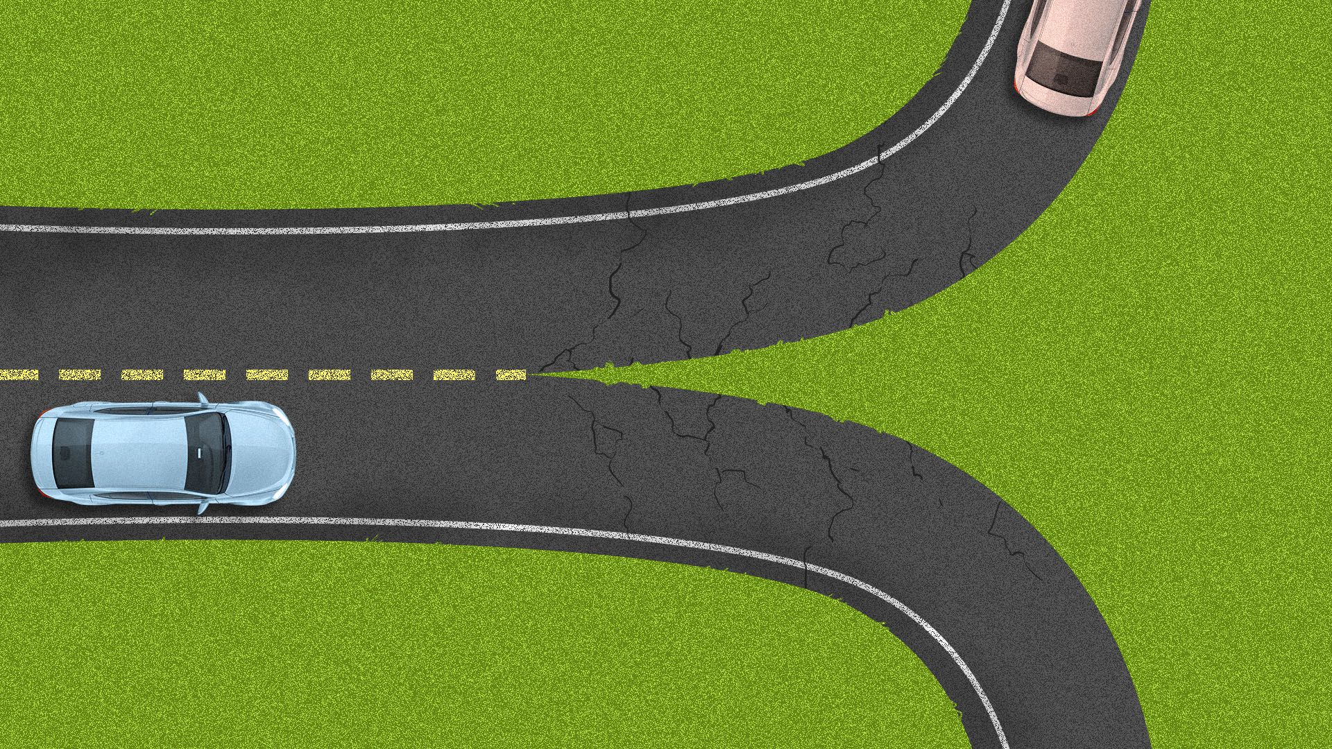 Illustration of a road with two cars on it splitting down the middle into two directions.