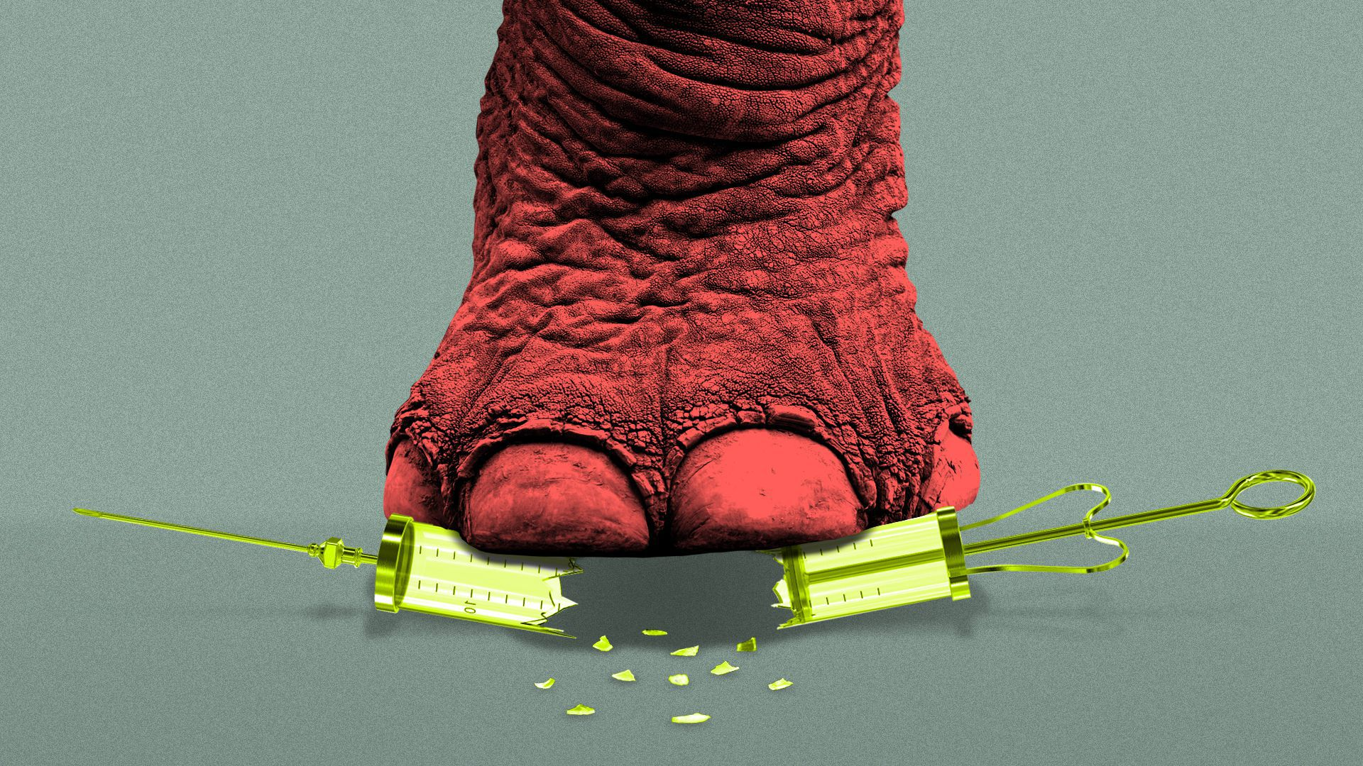 Illustration of a syringe being crushed by an elephant's foot.