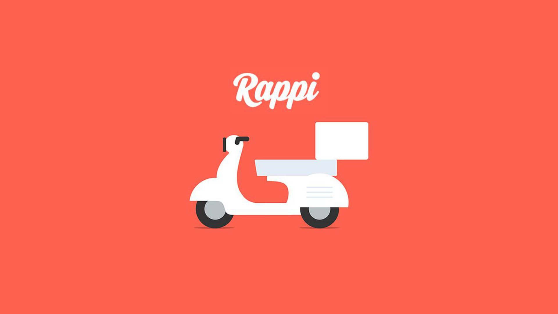 Rappi logo, of a food delivery scooter.