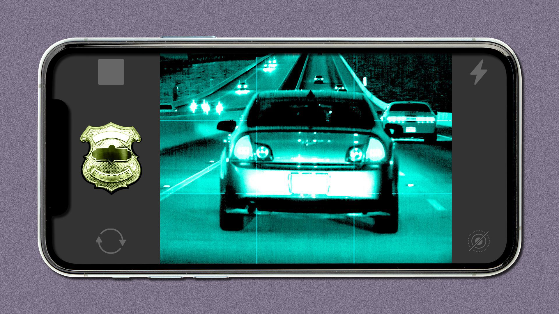 Illustration of a smartphone camera taking a photo of a car, with a police badge for a shutter button.