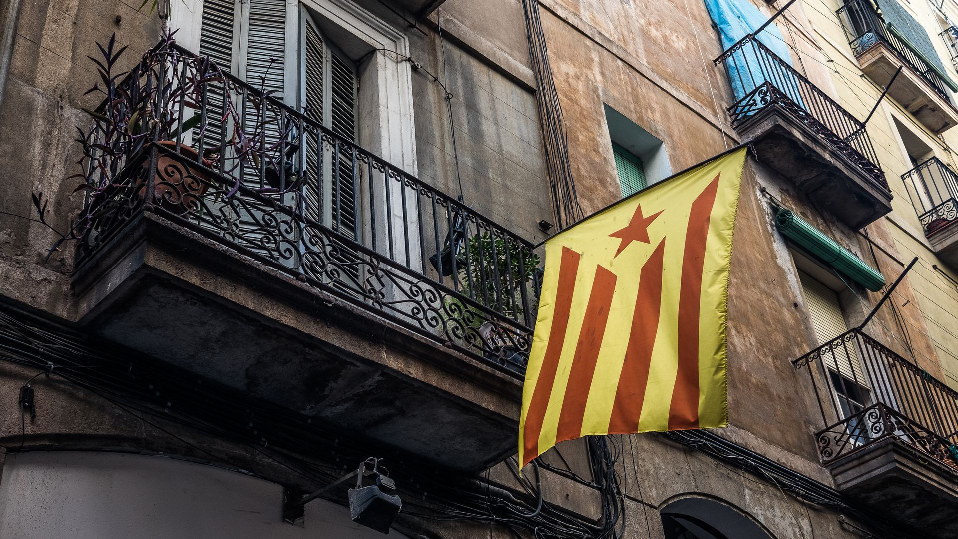 A Catalan independence flag in Barcelona