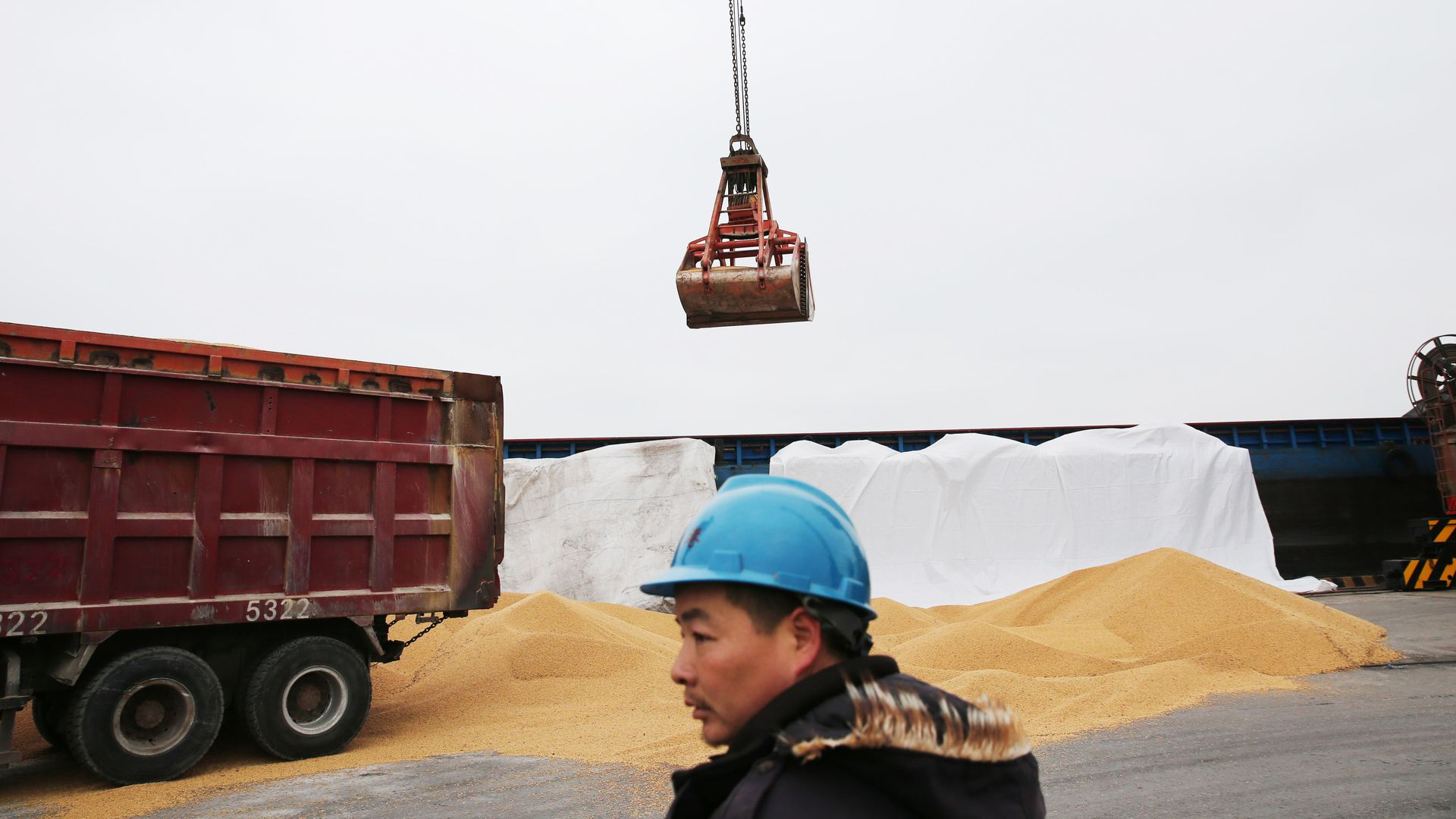 Man looks on as cargo lowered from ship