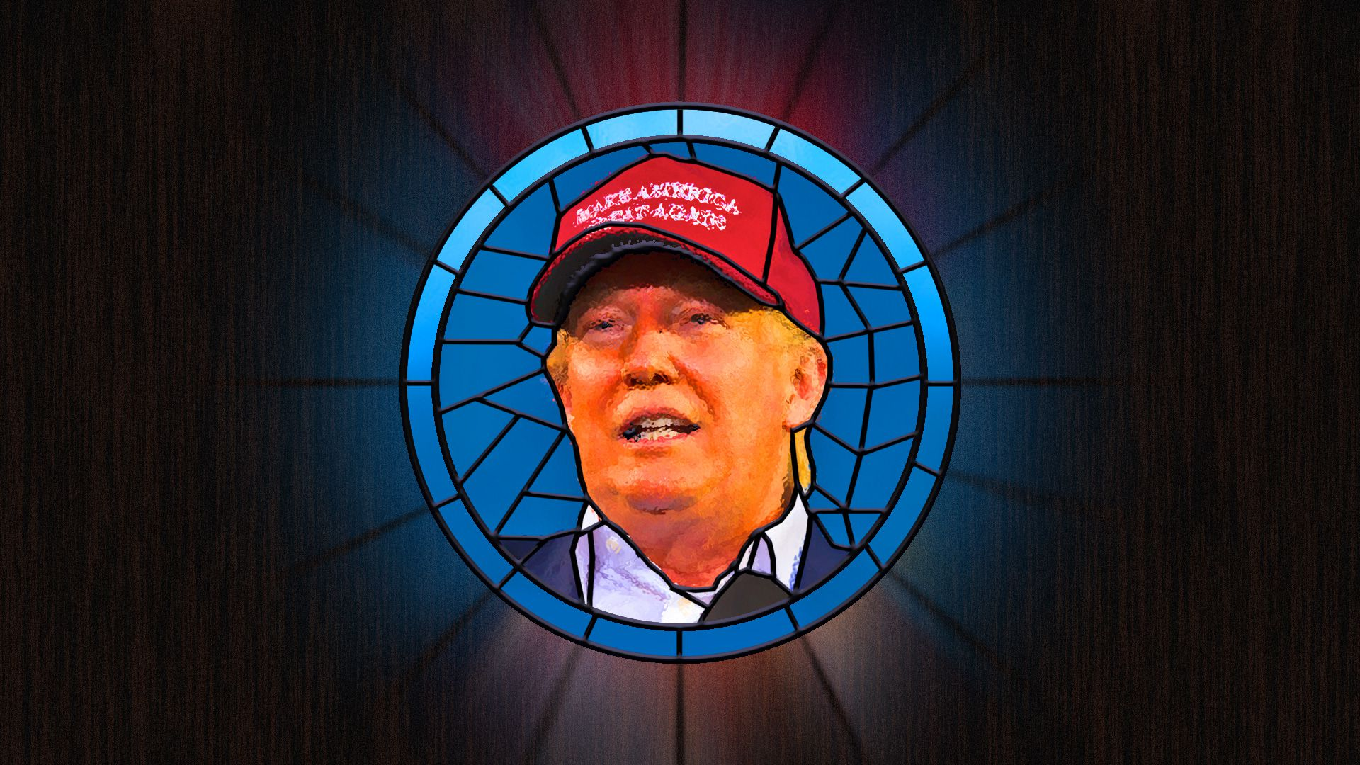 A stained glass portrait of Trump
