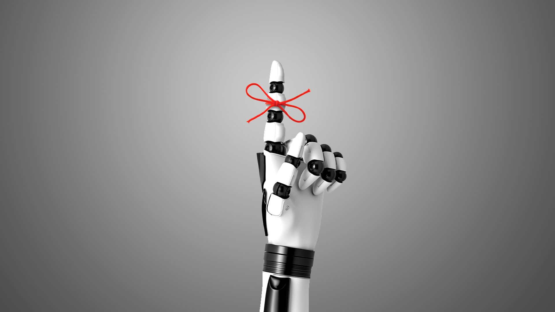 Illustration of a robot hand with a red string tied around one finger