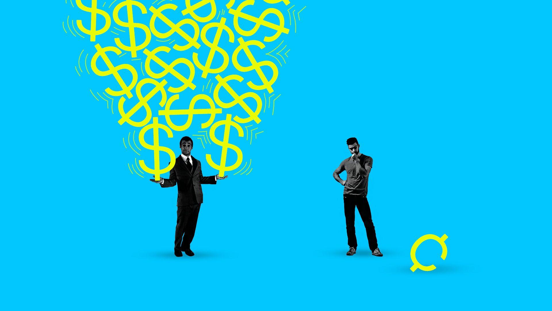 A man balancing dollars, another man contemplating cents.