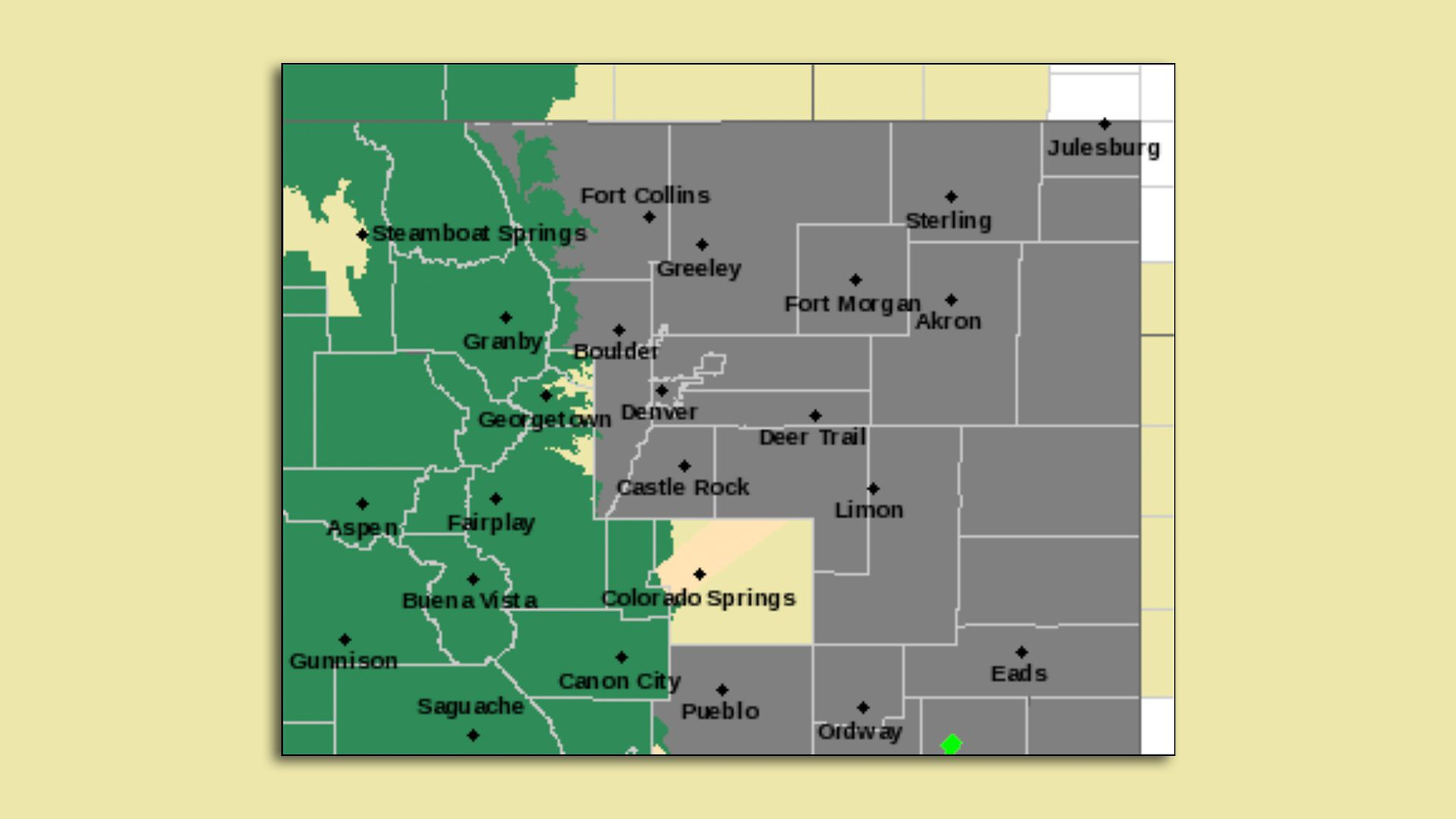 A photo of a map with gray over the Front Range indicating poor air quality
