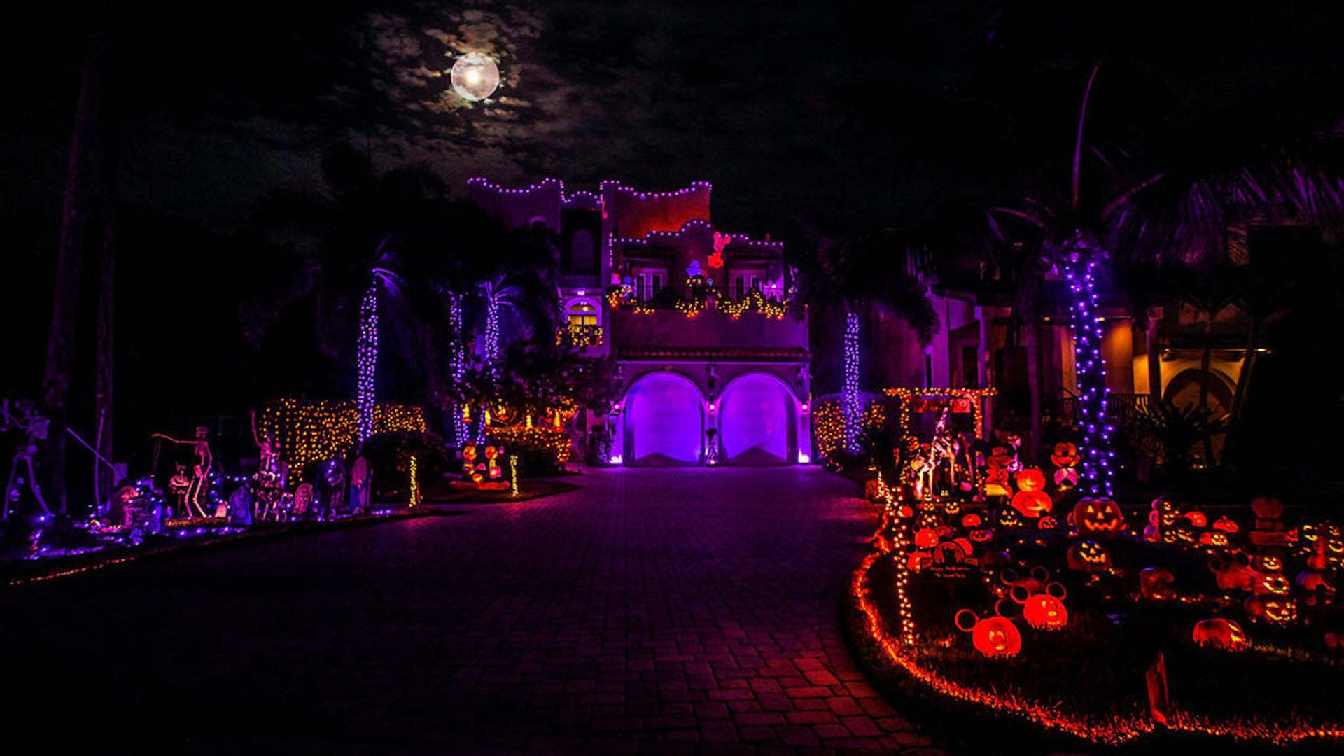 Peter Schorch's Halloween display at his St. Pete home, with red and purple lights everywhere.