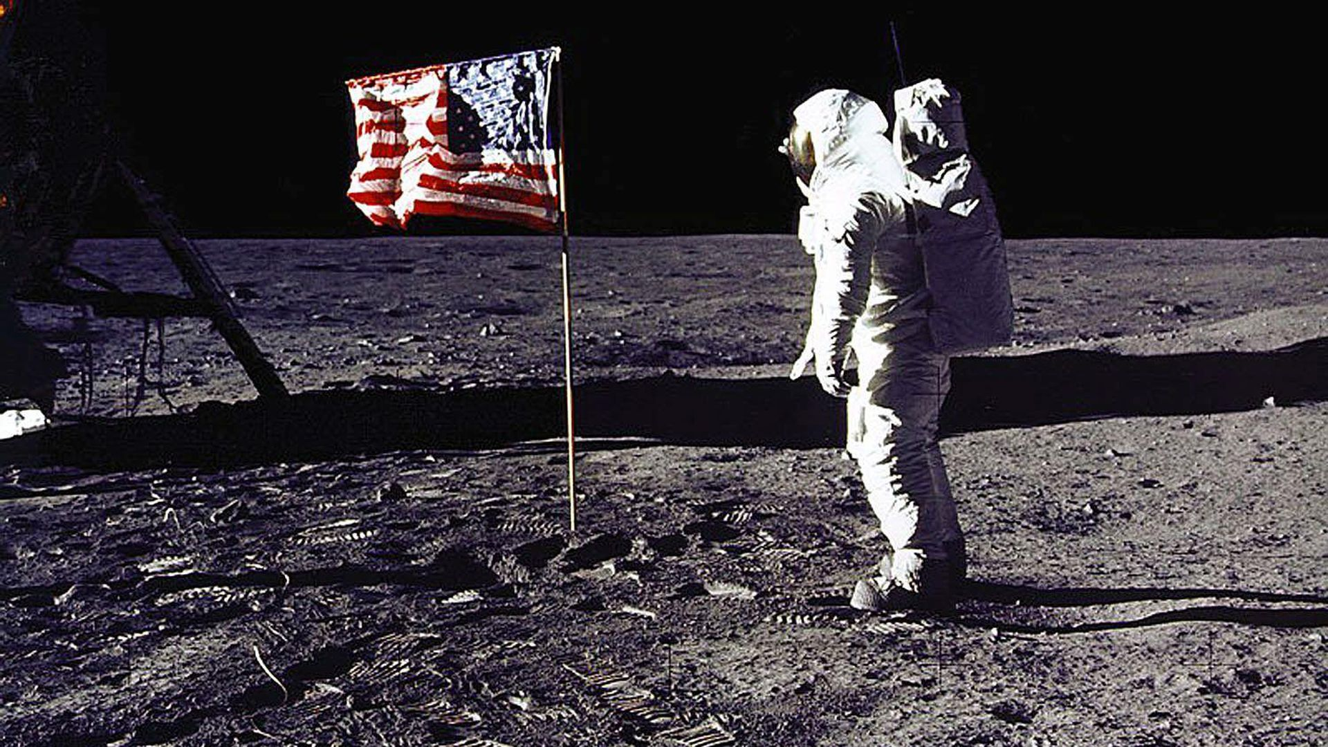 "This 20 July 1969 file photo released by NASA shows astronaut Edwin E. ""Buzz"" Aldrin, Jr. saluting the US flag on the surface of the Moon during the Apollo 11 lunar mission."