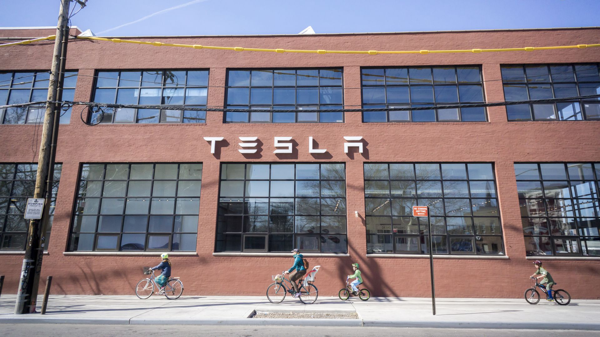 The new Tesla Motors showroom and service center in the Red Hook neighborhood of Brooklyn, New York.