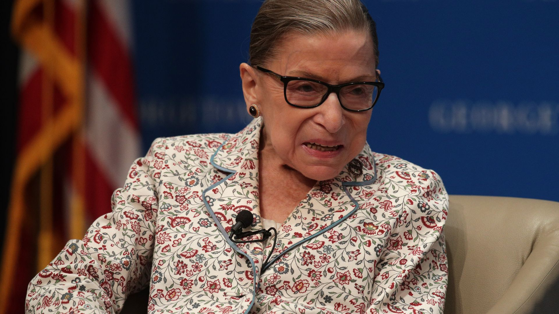 Justice Ruth Bader Ginsburg participates in a discussion at Georgetown University Law Center July 2