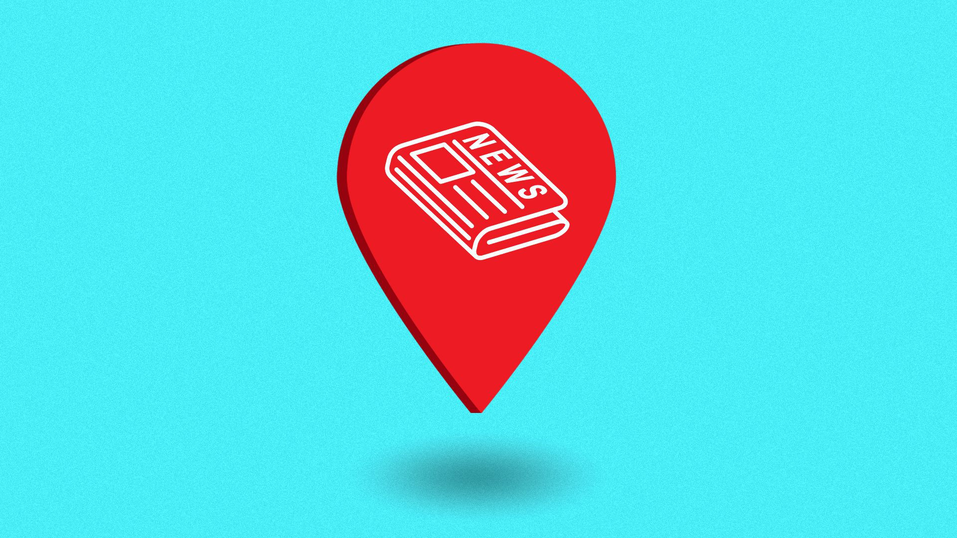 Illustration of a location pin icon with a newspaper in the center