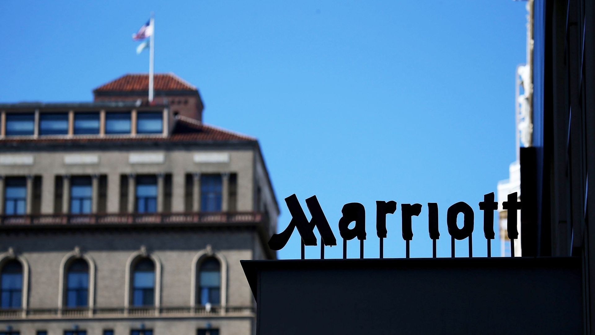 A Marriott sign.