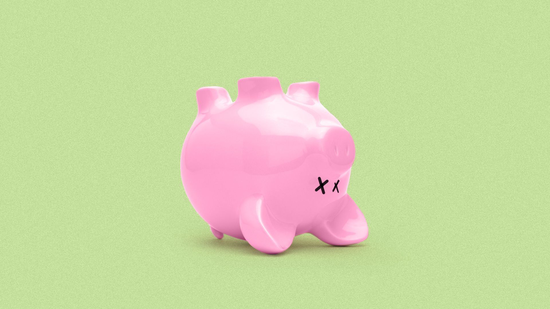 Illustration of a piggy bank on its back with X's for eyes.