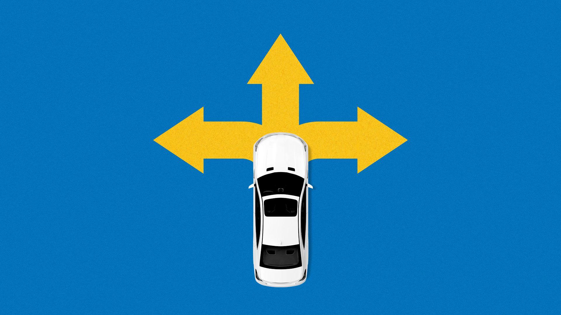 Illustration of car on a three-way street sign.