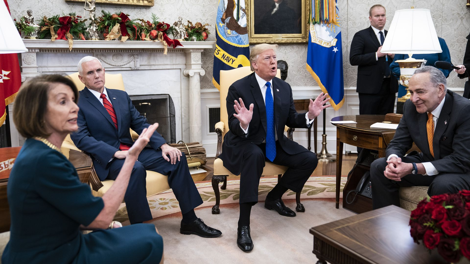 Trump with Pence, Pelosi and Schumer