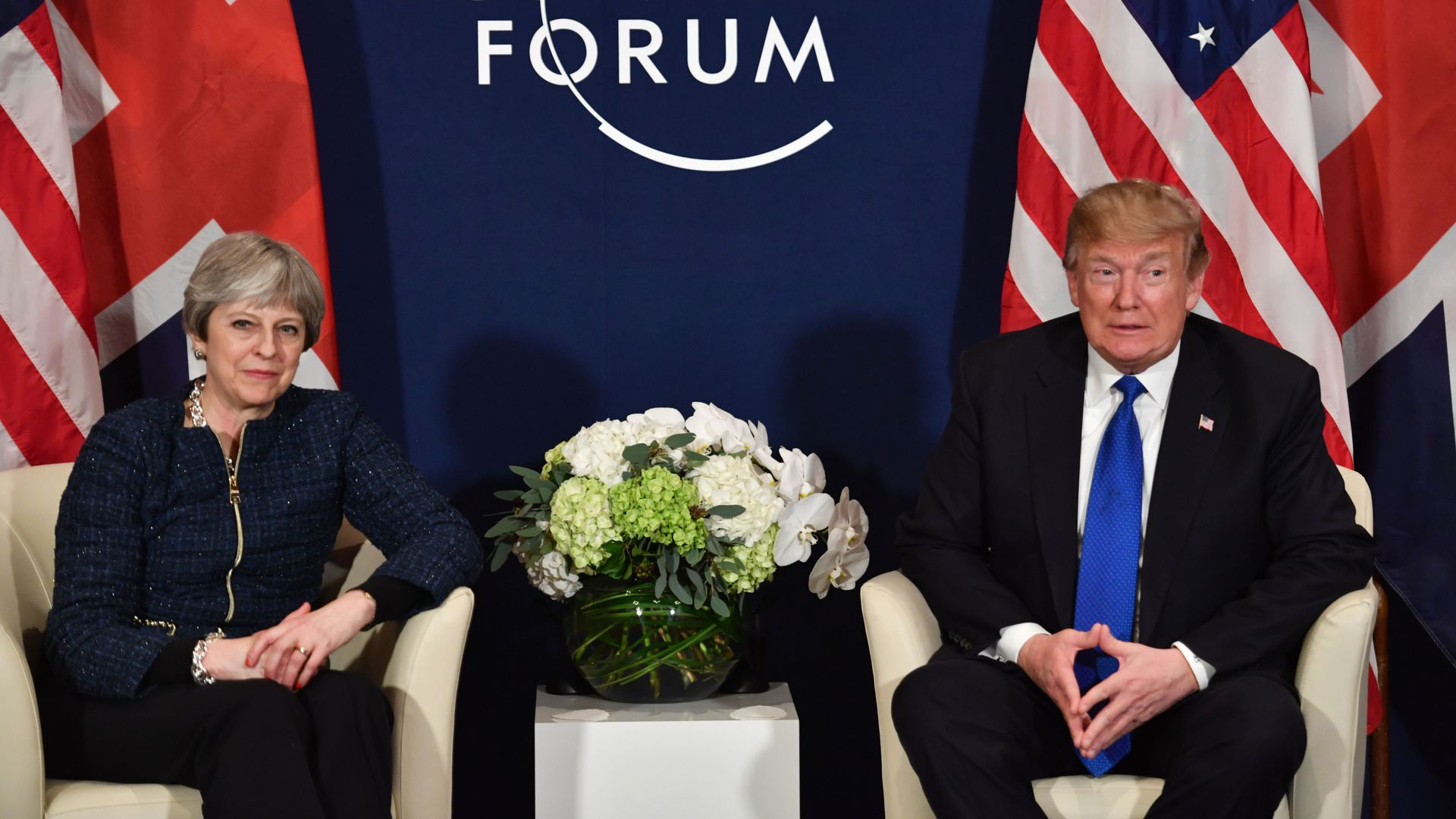 Theresa May and Donald Trump meet at the World Economic Forum in January