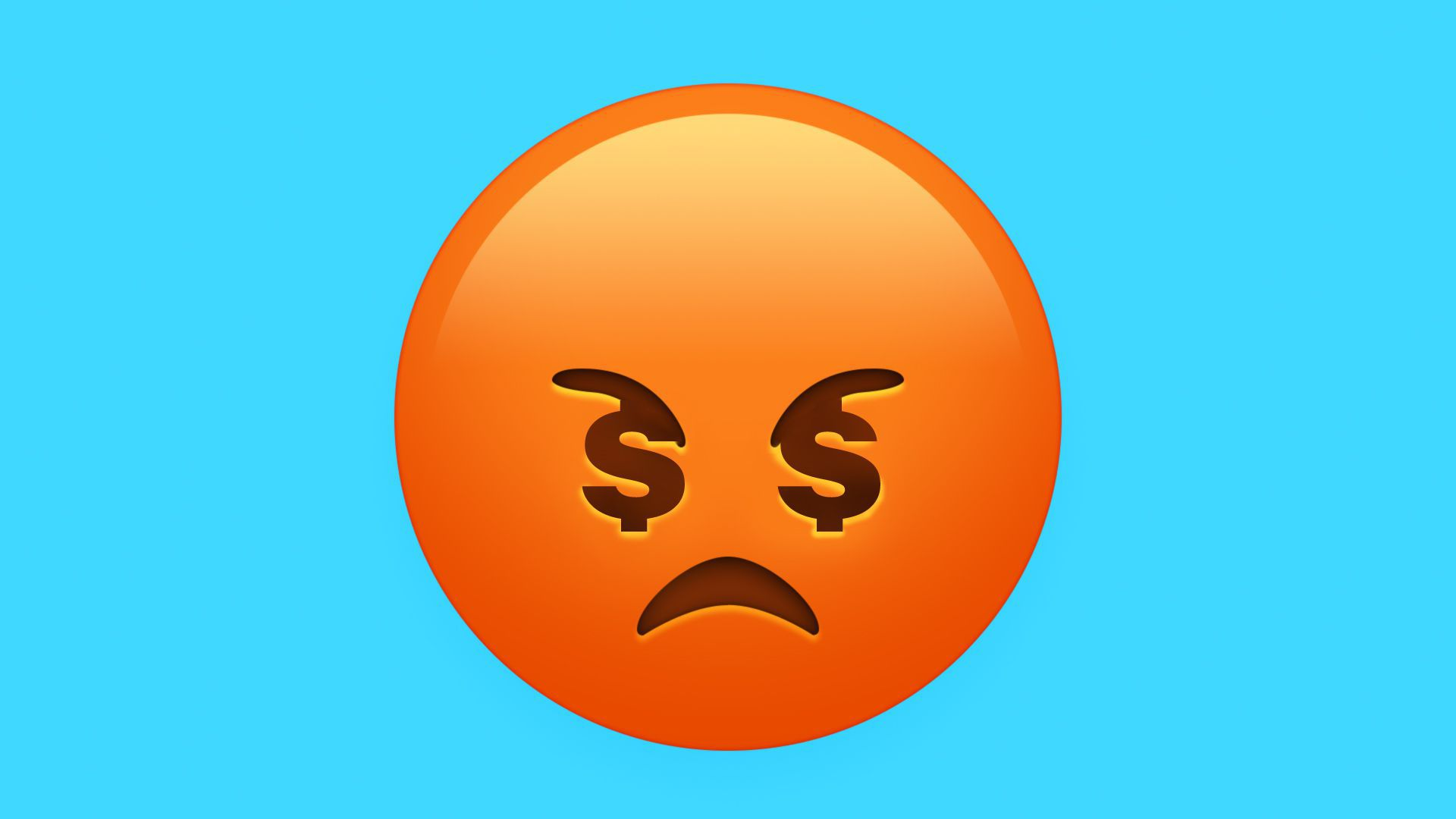 Illustration of sad face with dollar signs.
