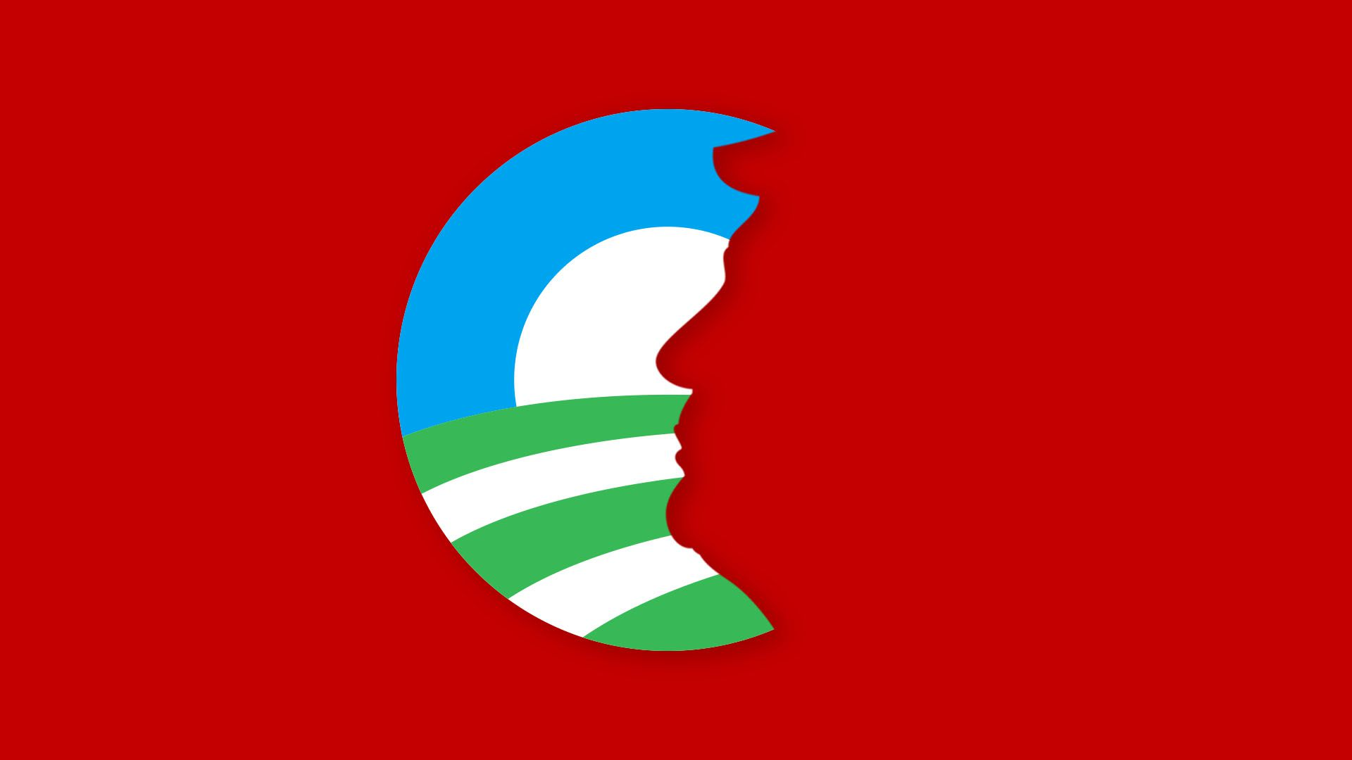 Illustration of green Obama logo with a cutout in the shape of Trump's face