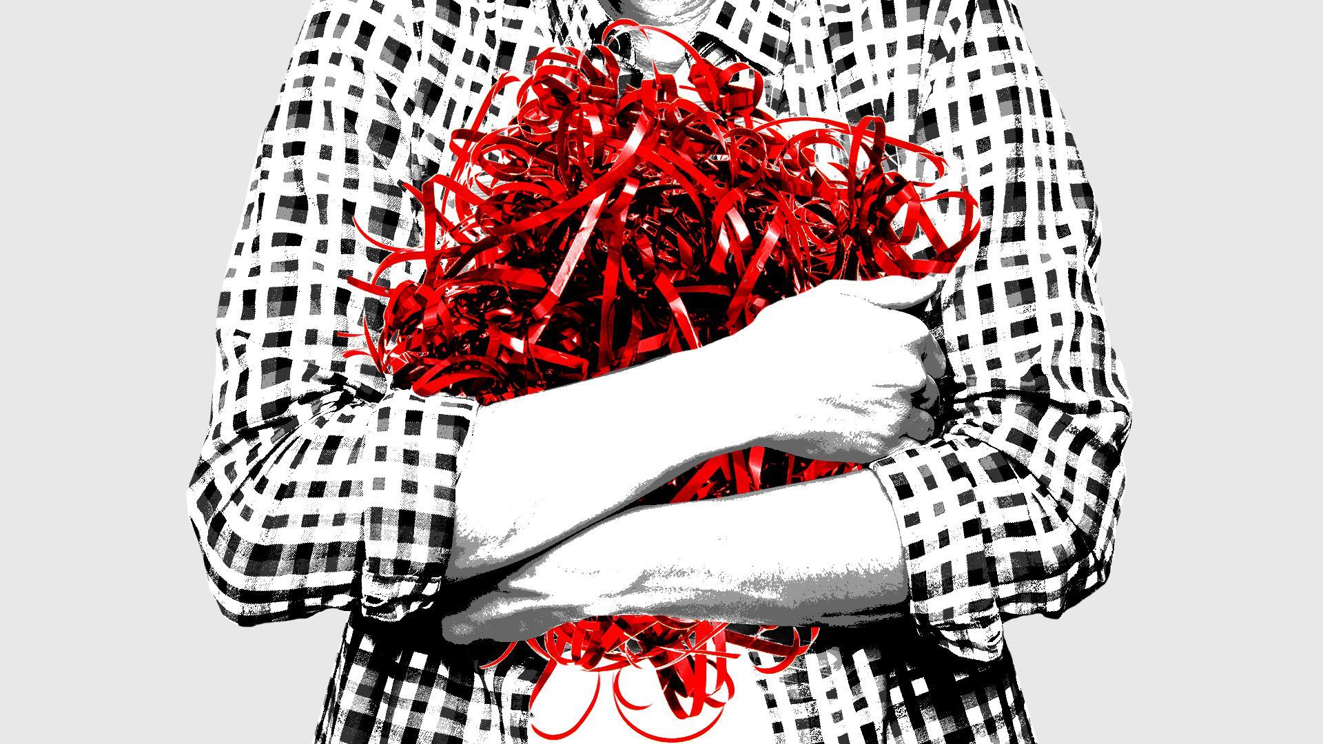 Illustration of a person holding a tangled ball of red tape