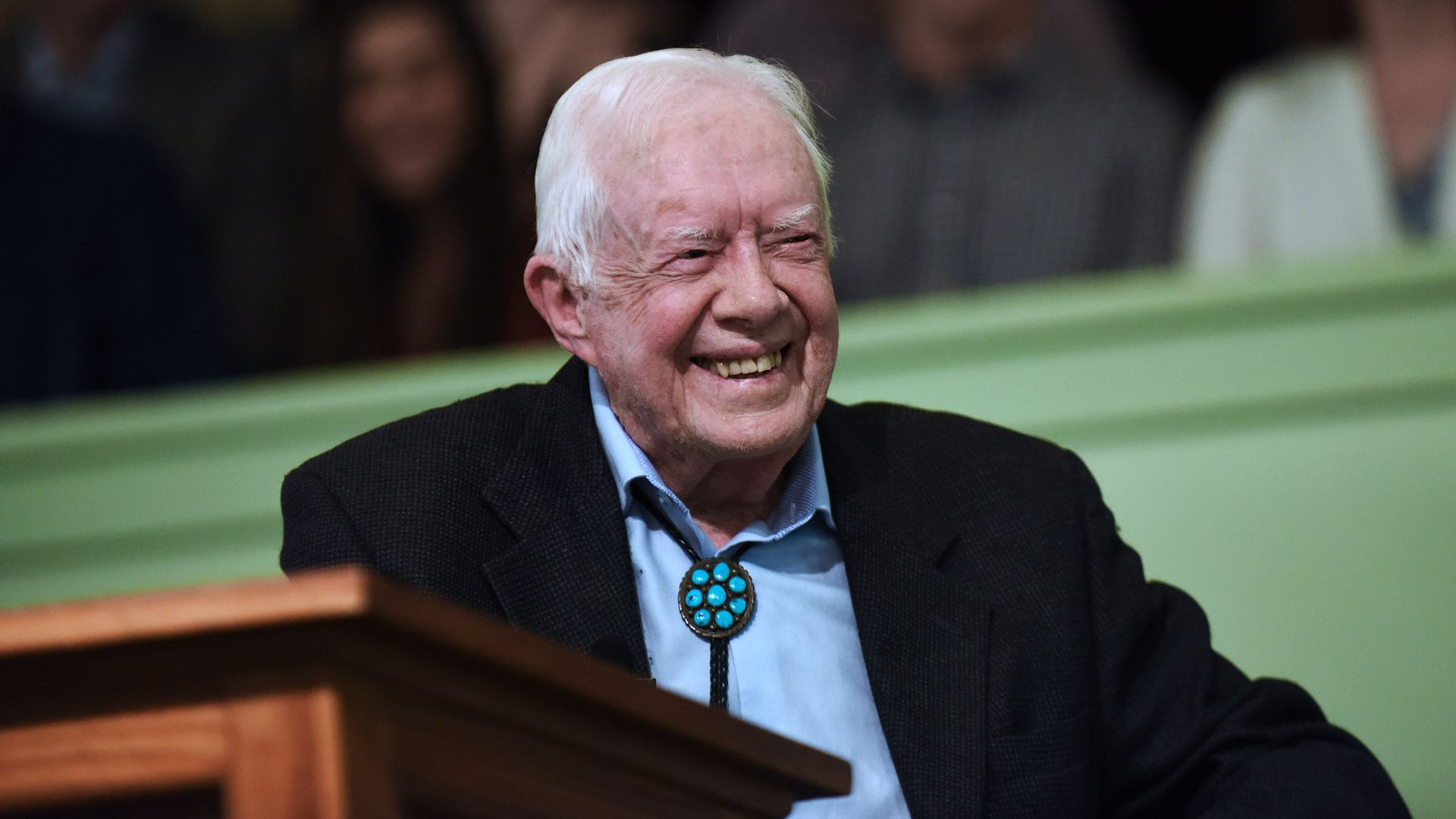 Jimmy Carter speaks to the congregation at Maranatha Baptist Church before teaching Sunday school in his hometown of Plains, Georgia