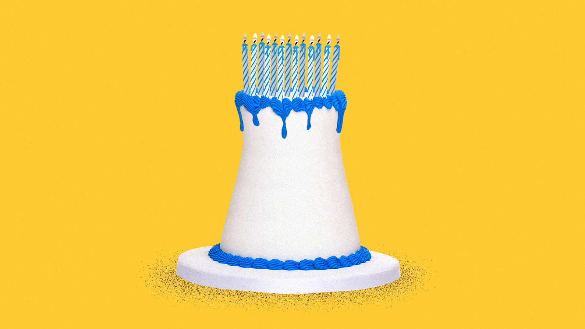 Illustration of a melting birthday cake in the shape of a nuclear tower with too many candles on top.
