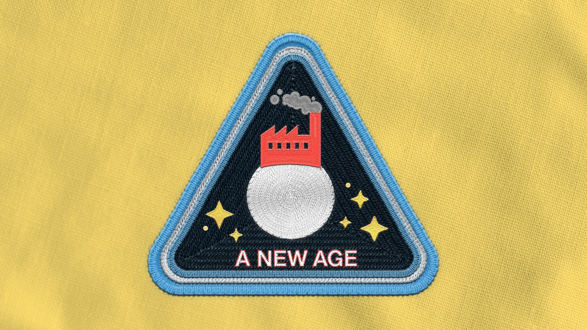 "Illustration of an astronaut badge depicting a factory on the moon, the words ""A NEW AGE"" are on the badge."