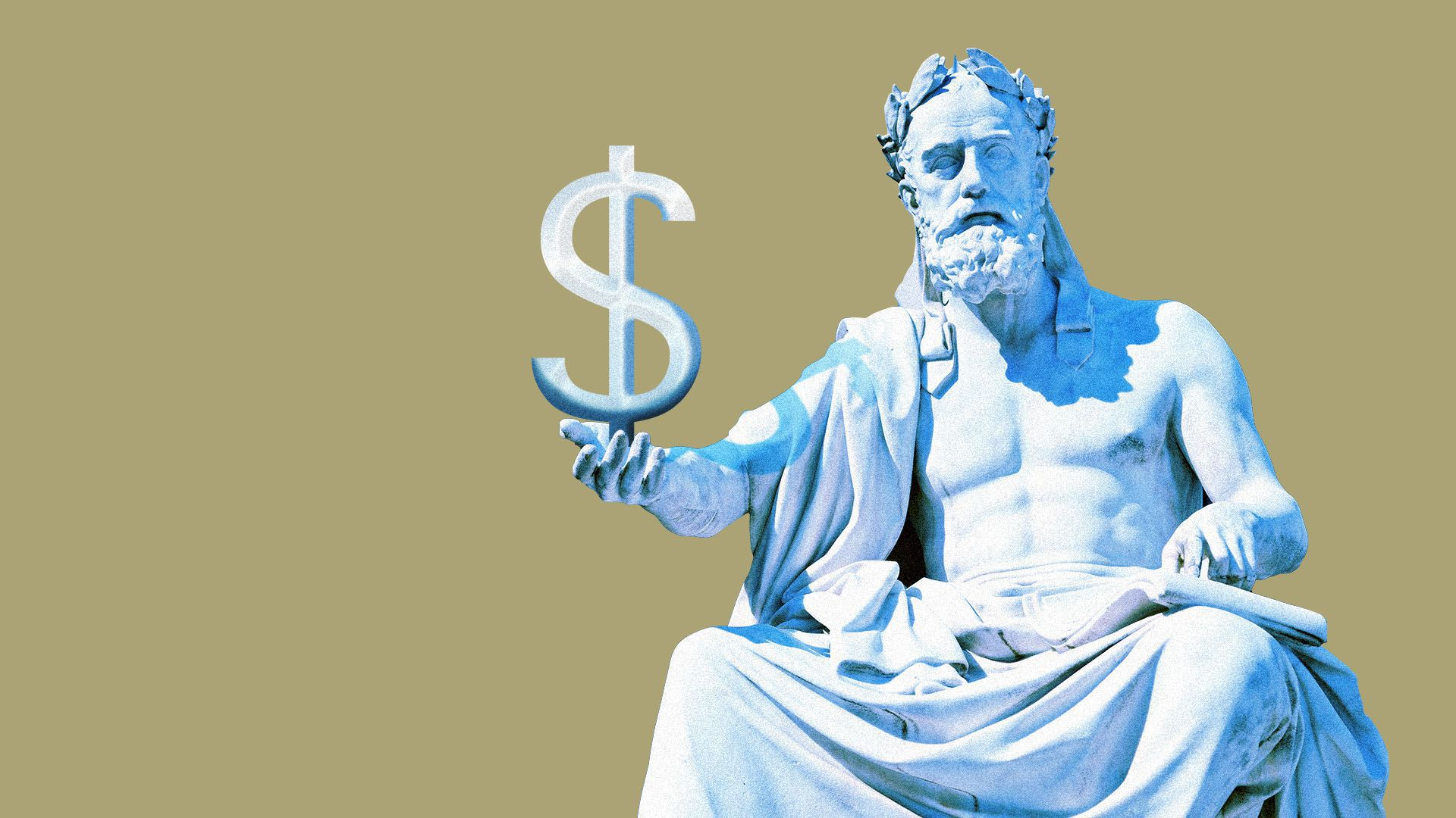 A Greek statue holding a dollar sign.