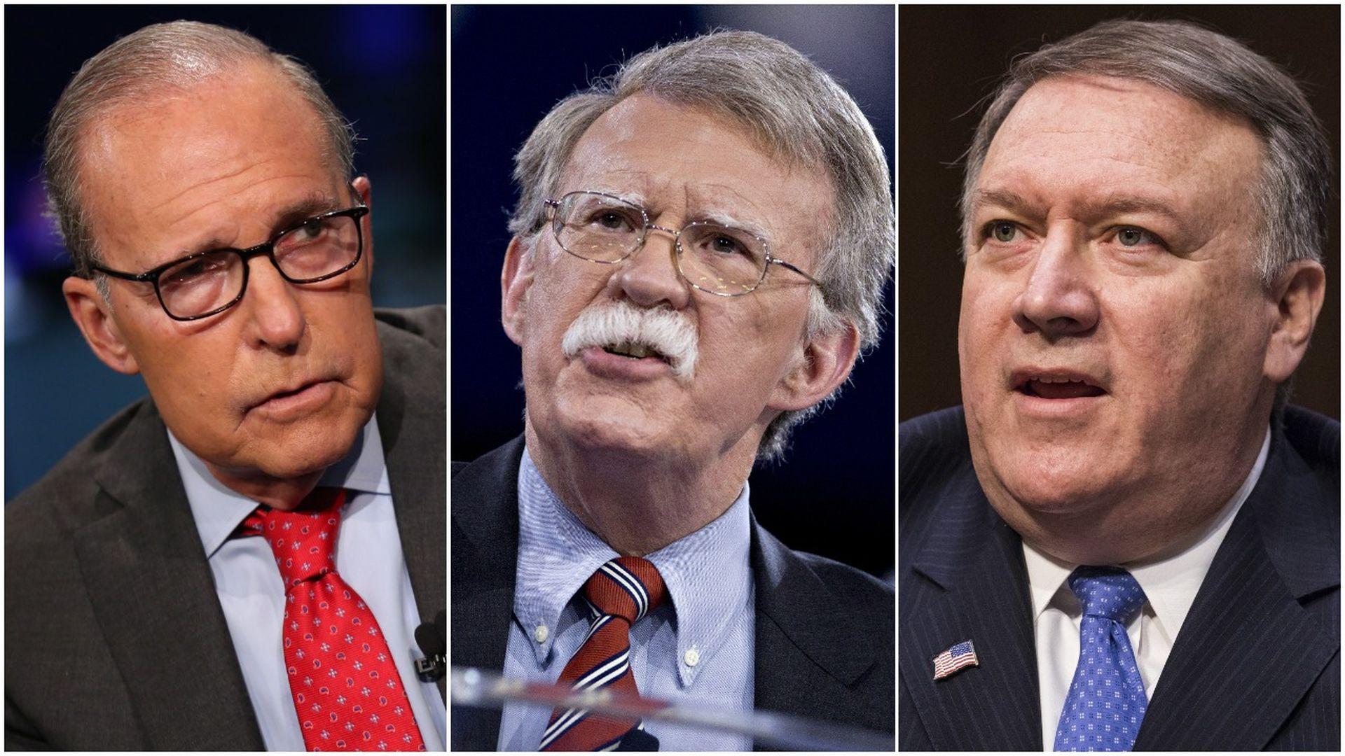 Larry Kudlow, John Bolton, Mike Pompeo