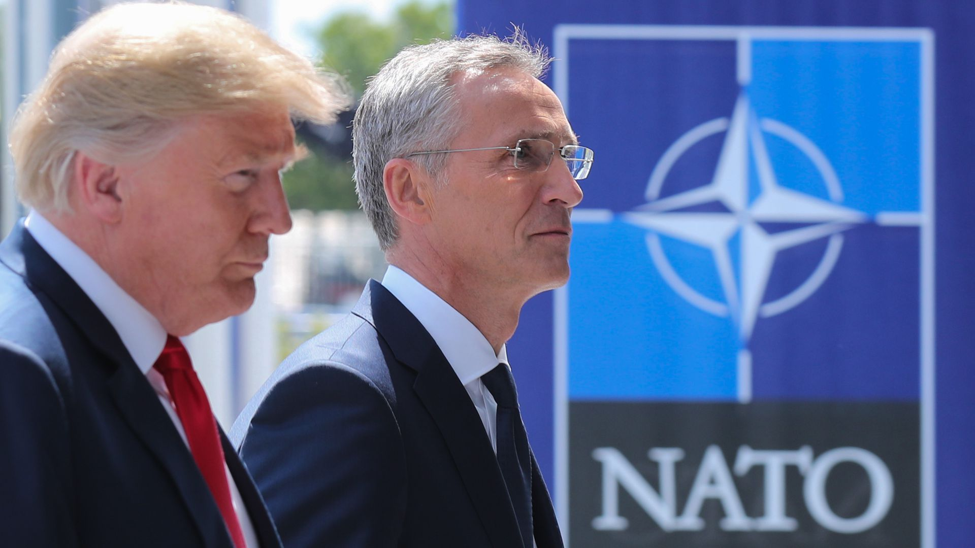 Trump and Stoltenberg side by side