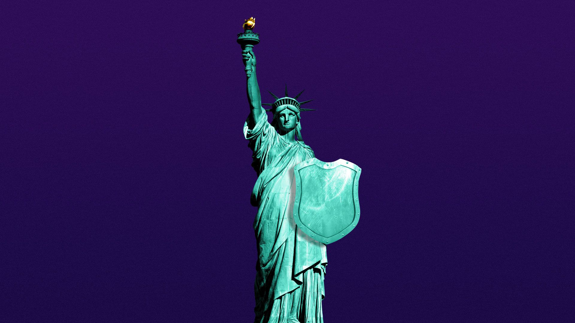 Illustration of Statue of Liberty holding a shield.