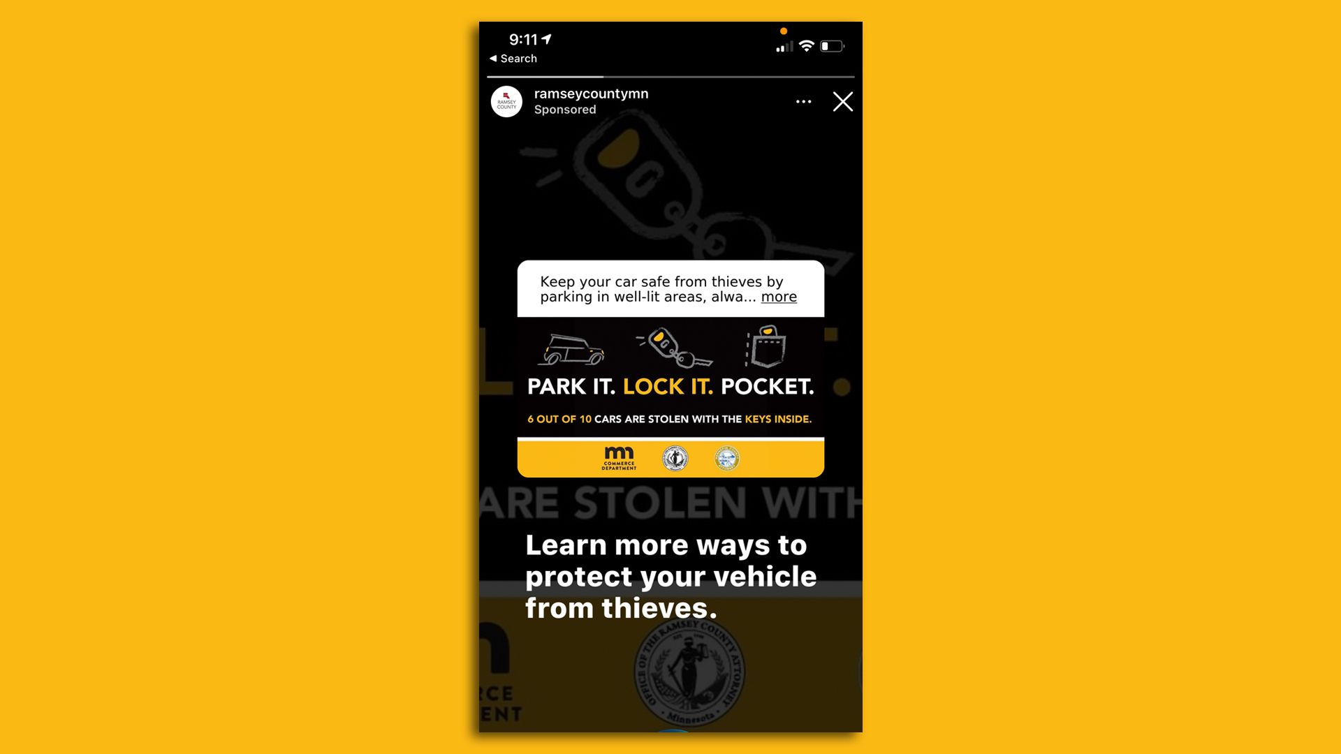 an instagram ad warning you to lock your car