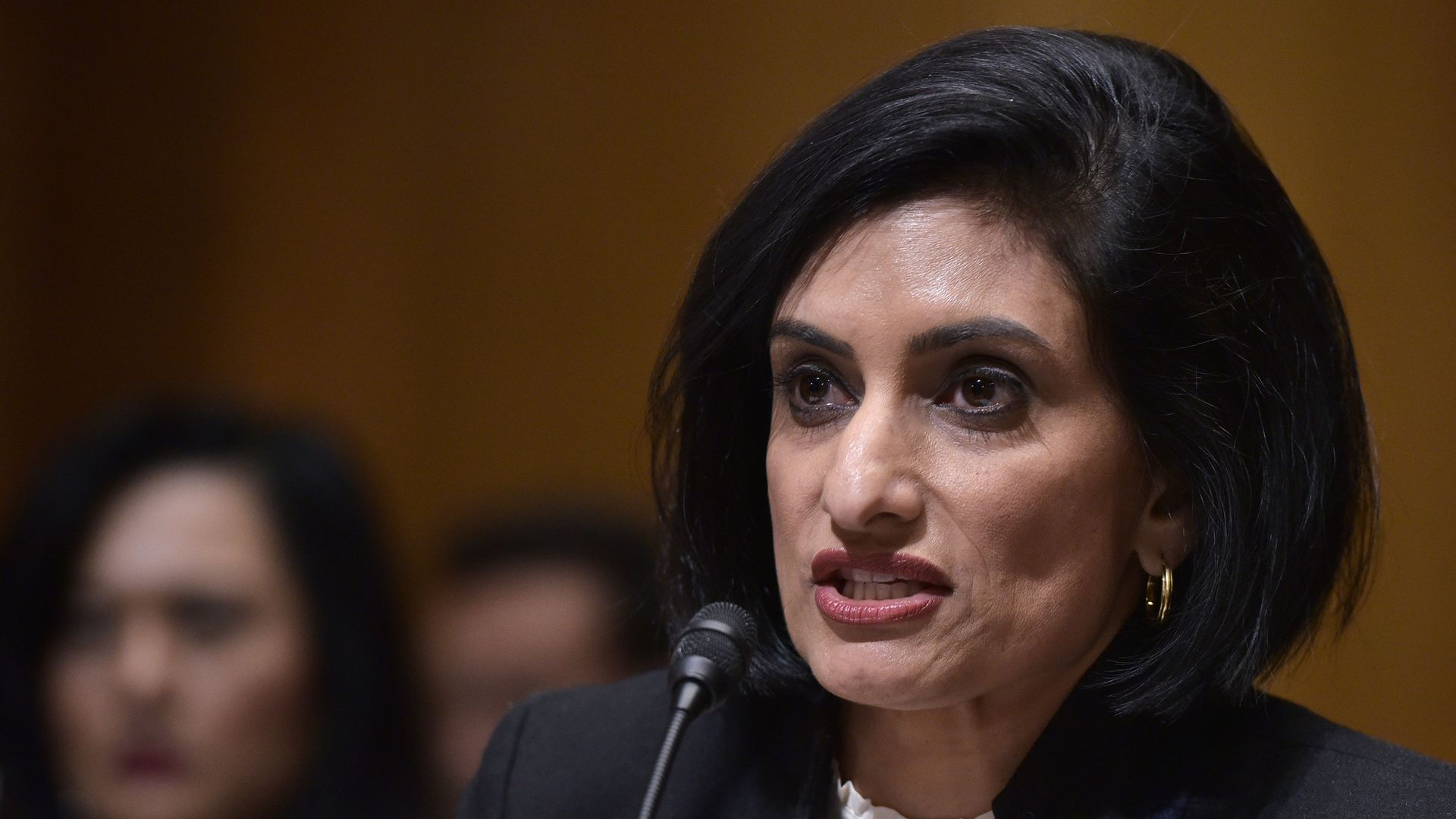 Medicaid administrator Seema Verma speaks at her confirmation hearing.