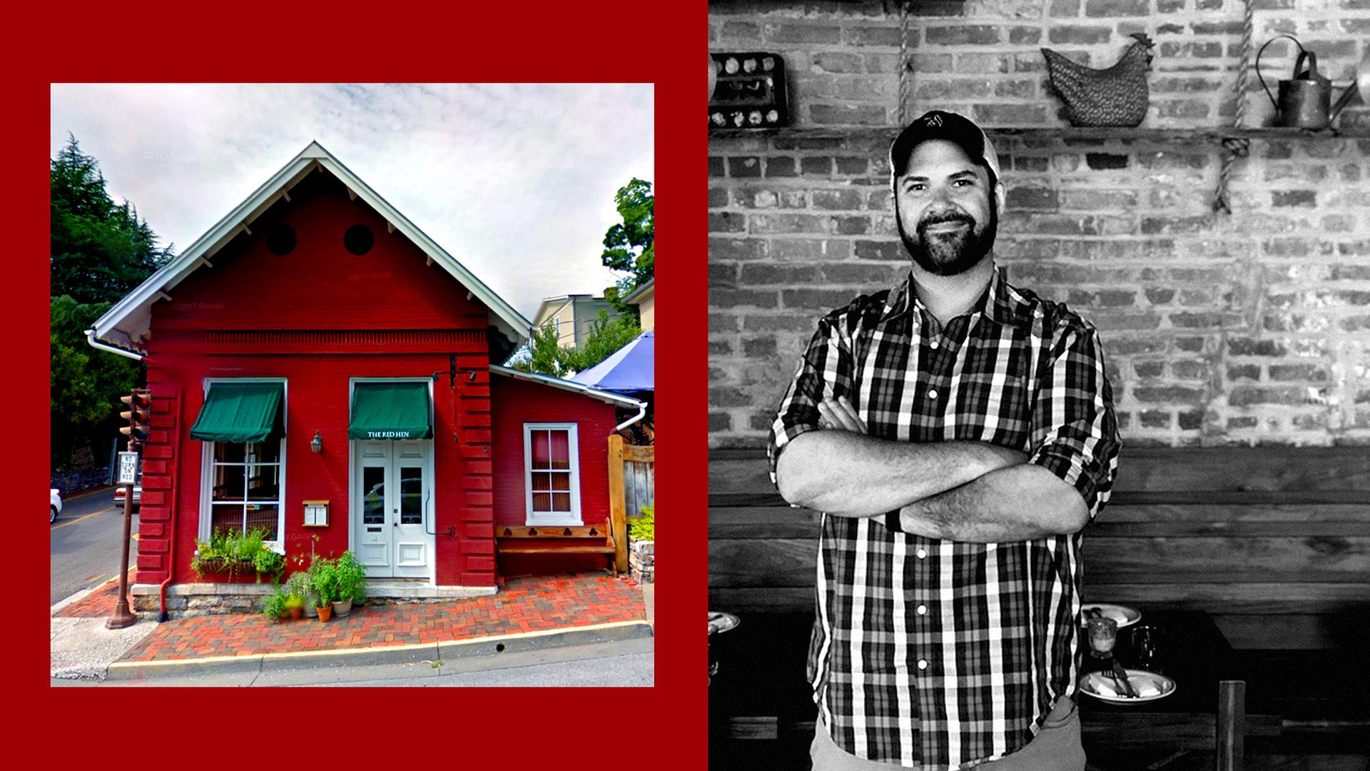 The chef of Red Hen DC pictured opposite the Red Hen in Lexington, Virginia