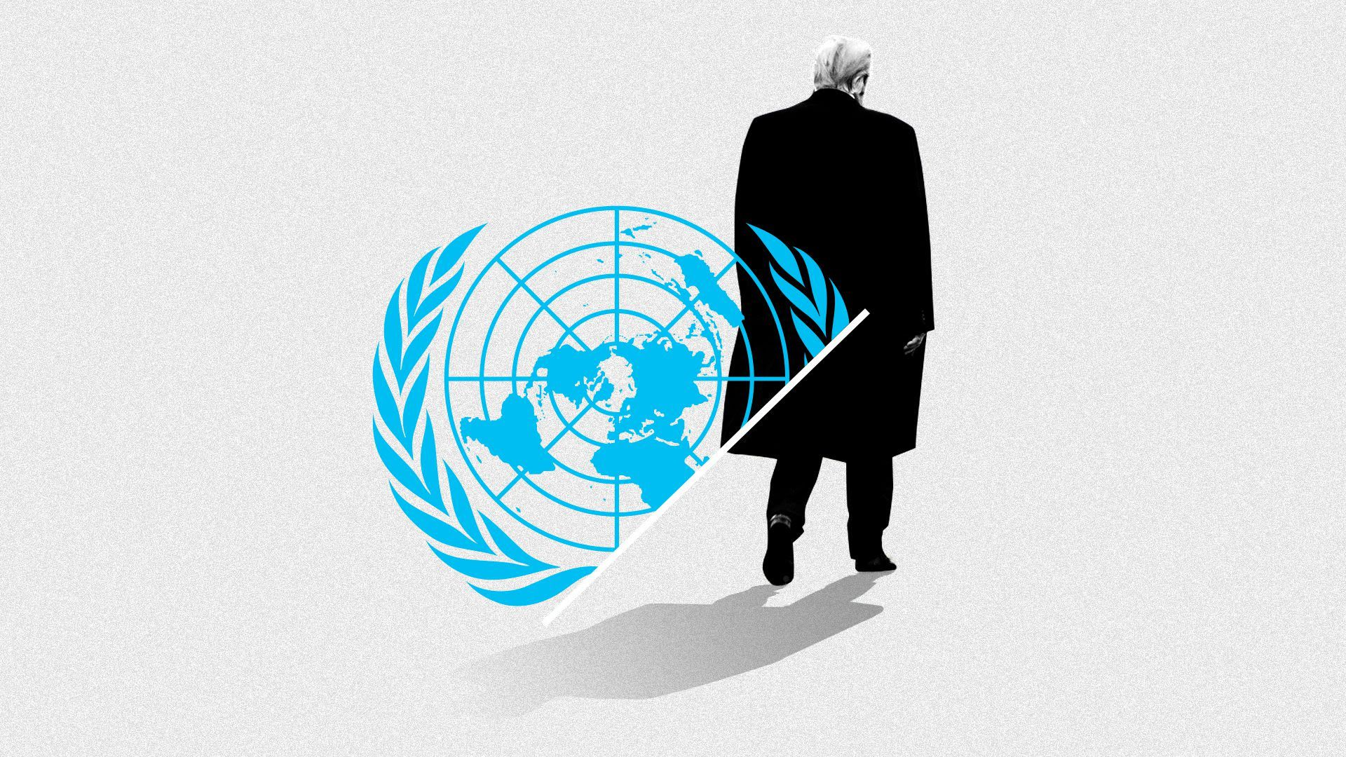 The UN symbol as a drawing of Trump turns his back away from it.