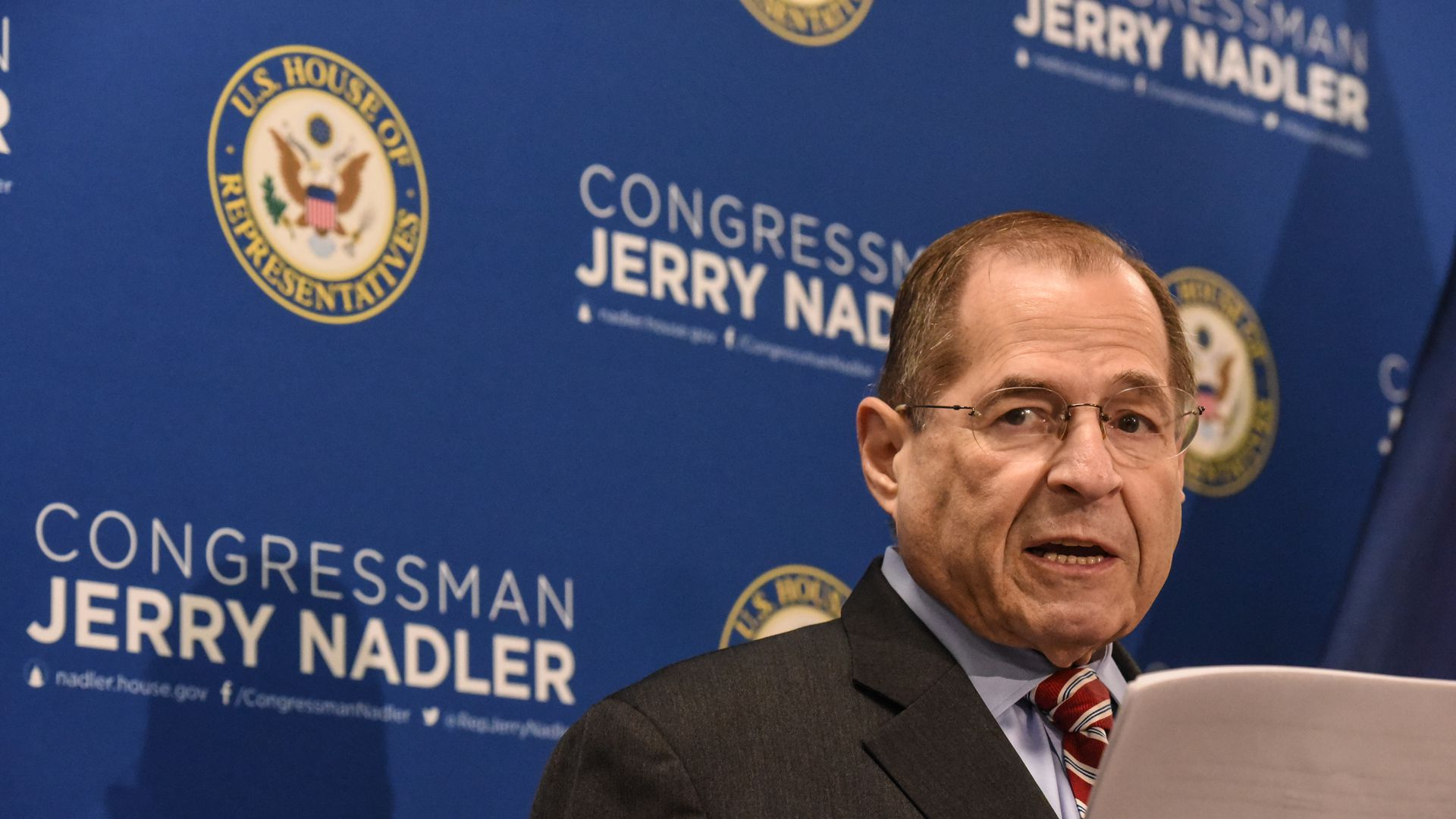 House Judiciary Committee Chairman Jerrold Nadler gives a speech.