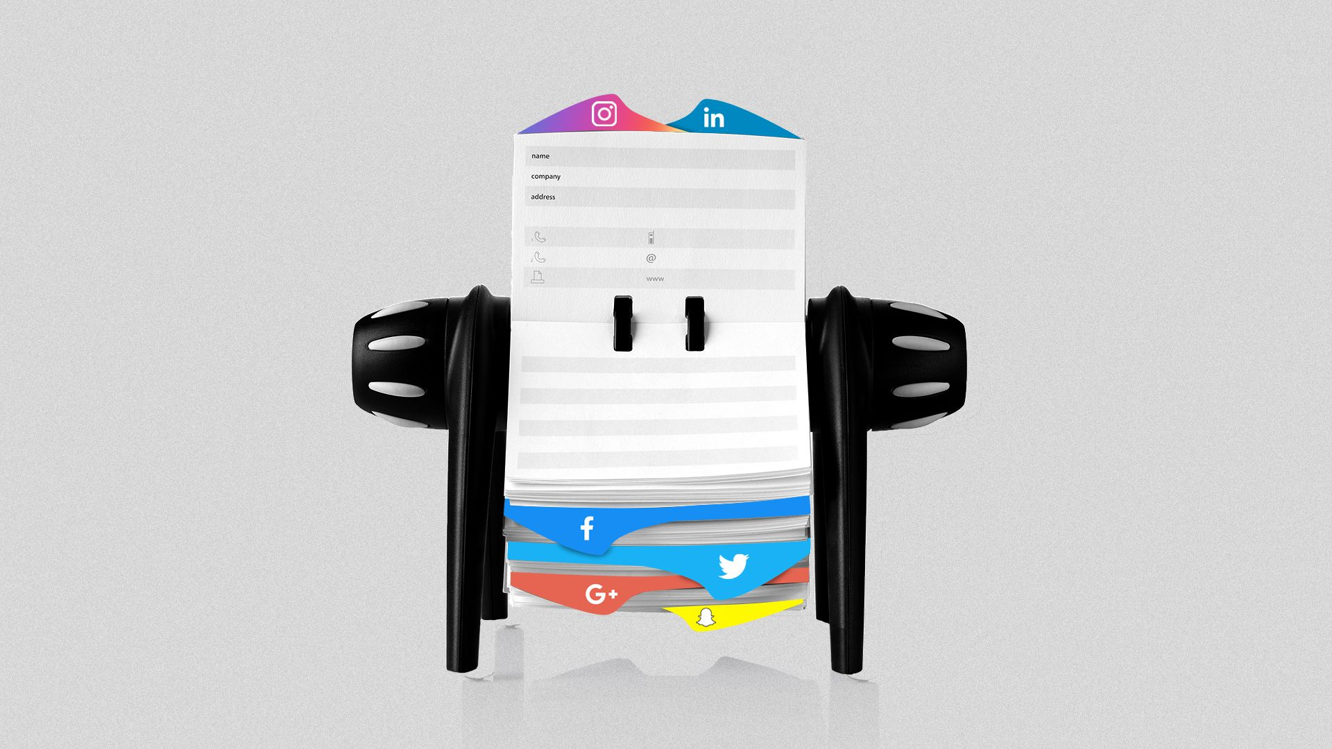 Illustration of a Rolodex with tabs indicating various social media apps.