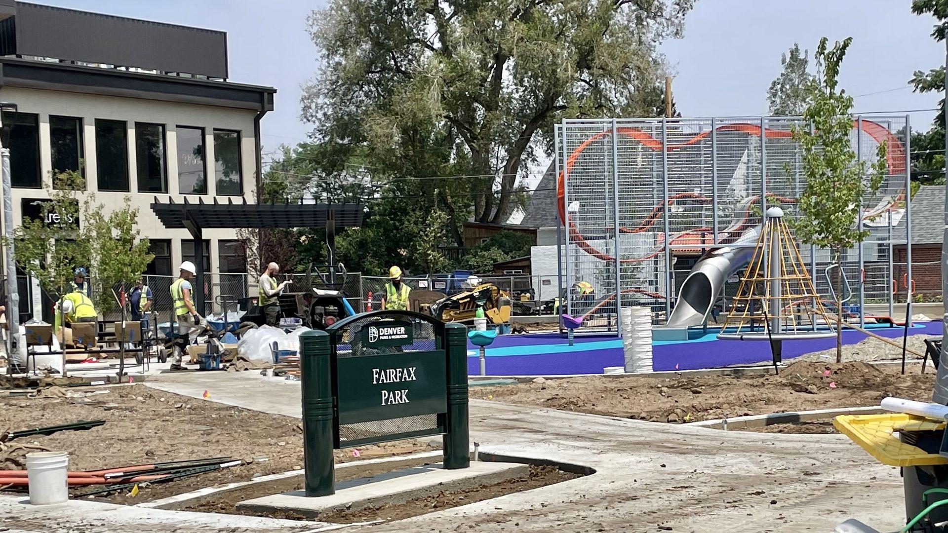Construction crews work to finish Fairfax Park in Park Hill.