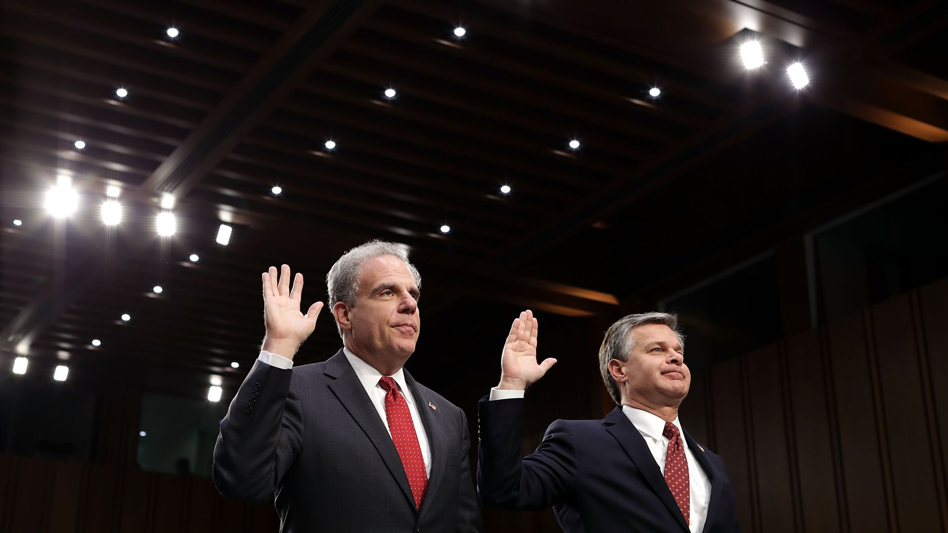 Justice Department Inspector General Michael Horowitz and FBI Director Christopher Wray are sworn in before testifying to the Senate Judiciary Committee
