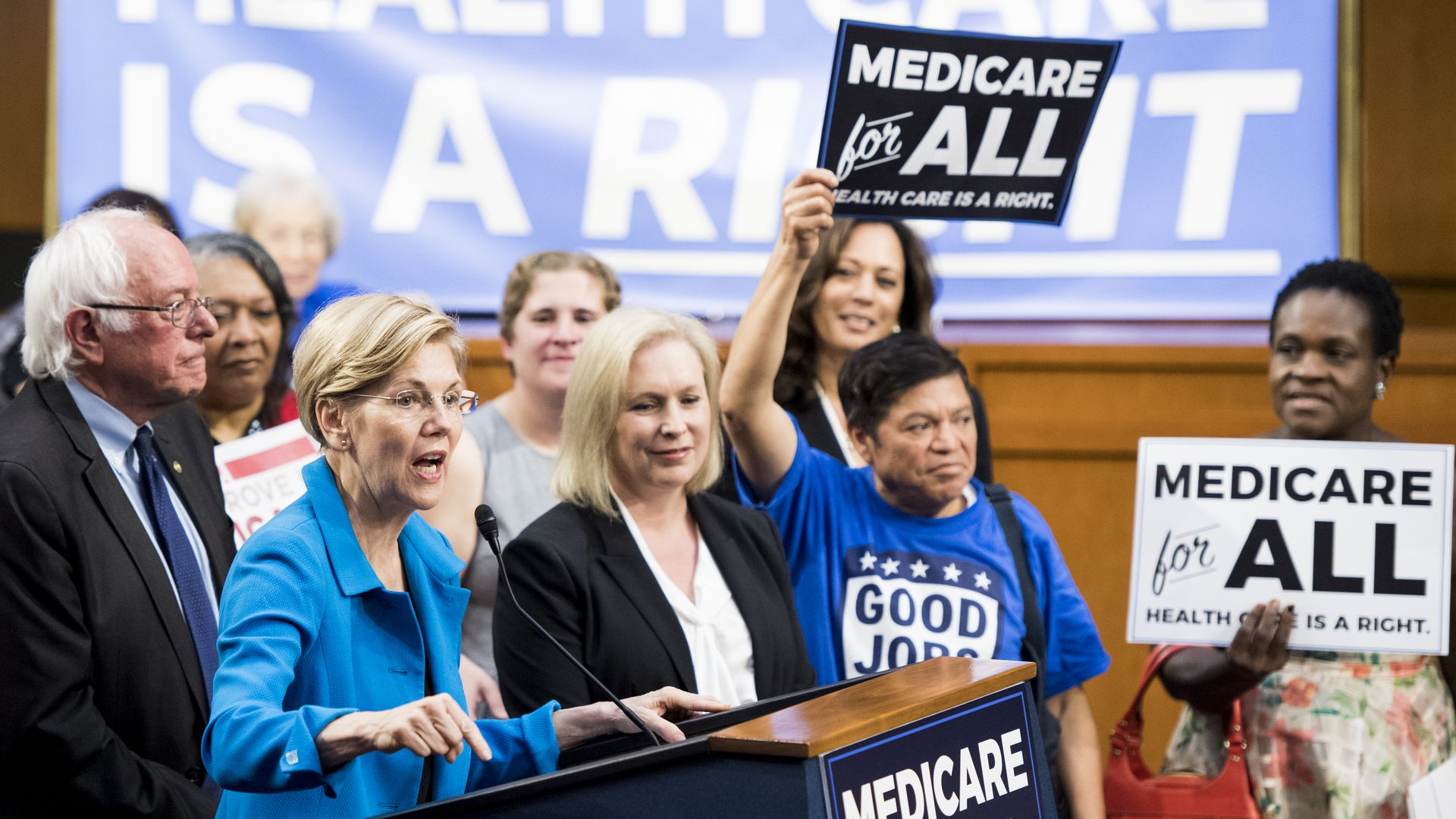 Sens. Bernie Sanders and Elizabeth Warren with Medicare for All supporters