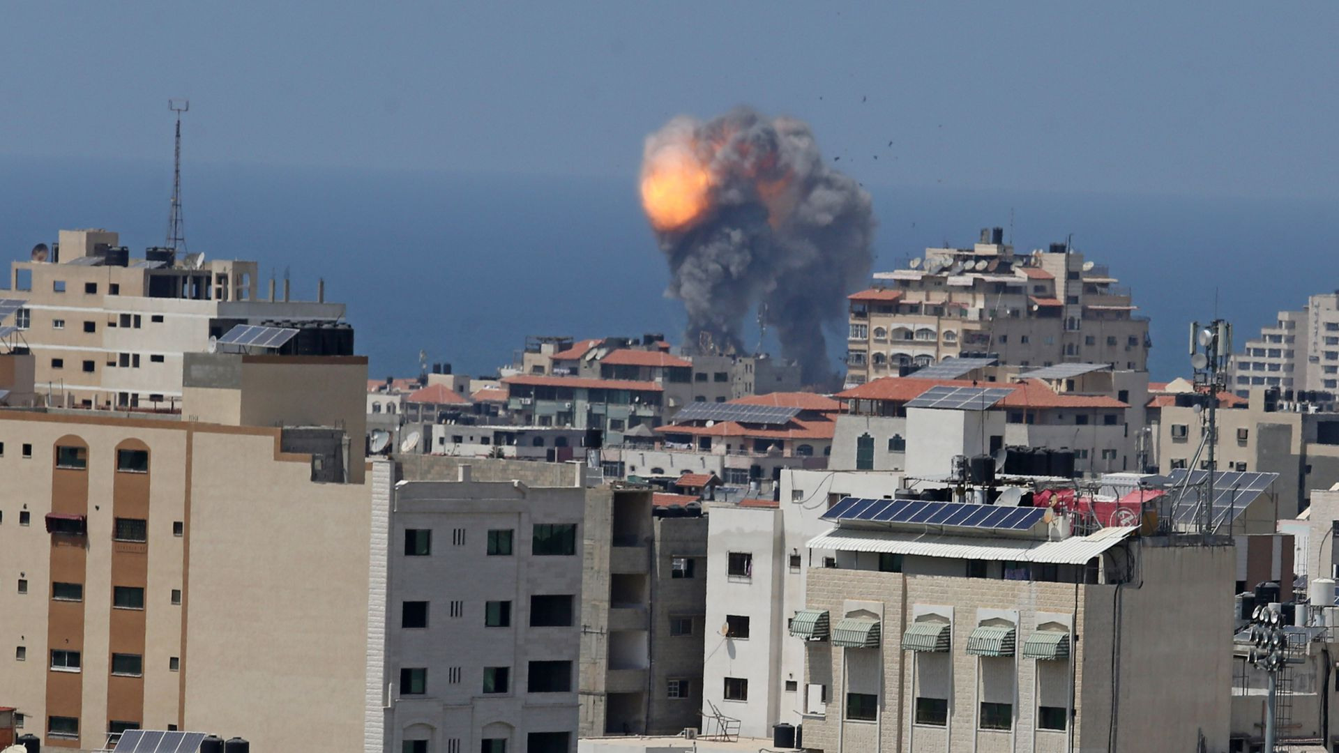 Smoke rises after the warplanes of Israel carried out an airstrike over residential areas in Gaza City, Gaza