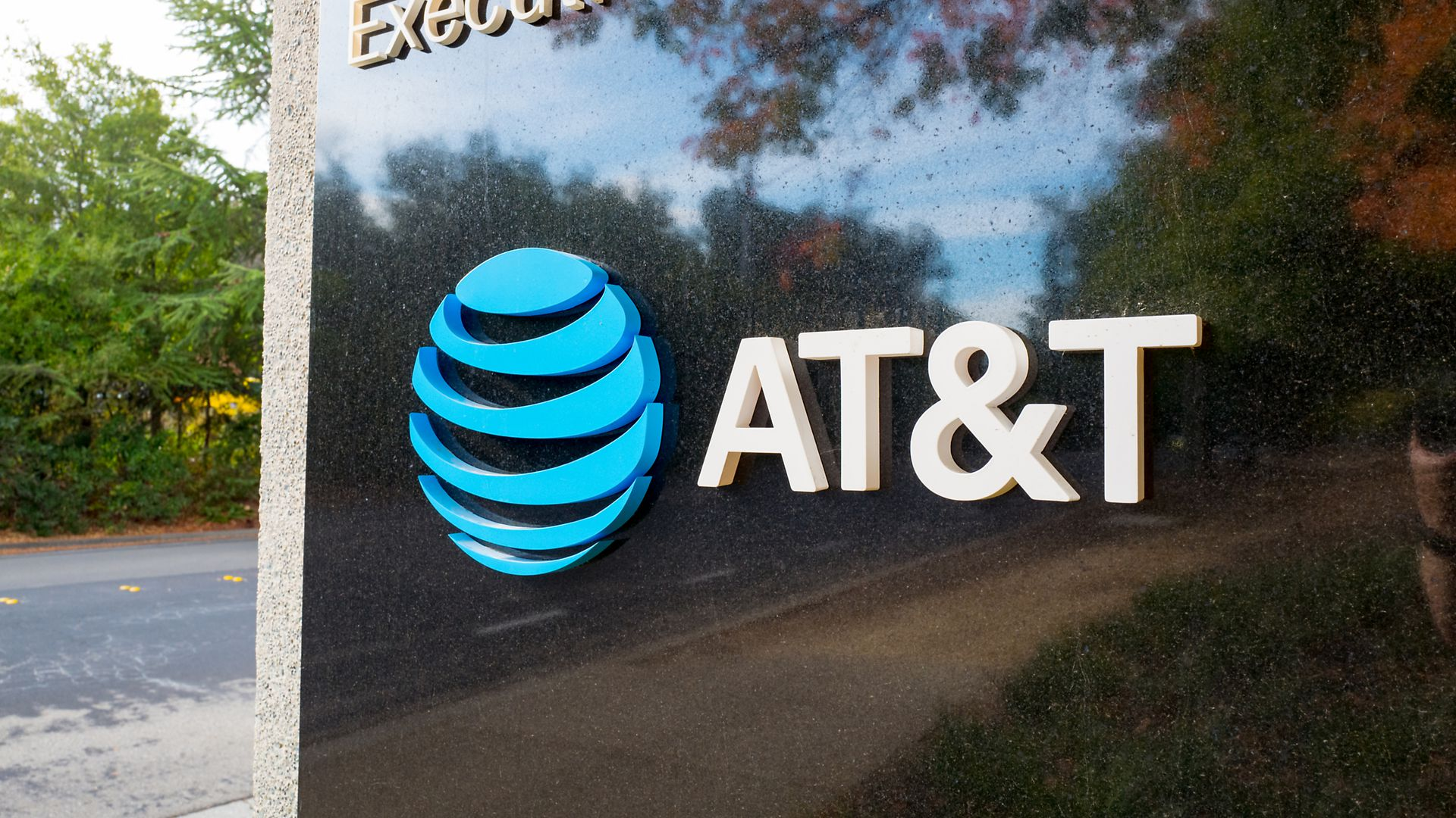 A sign with AT&T's logo